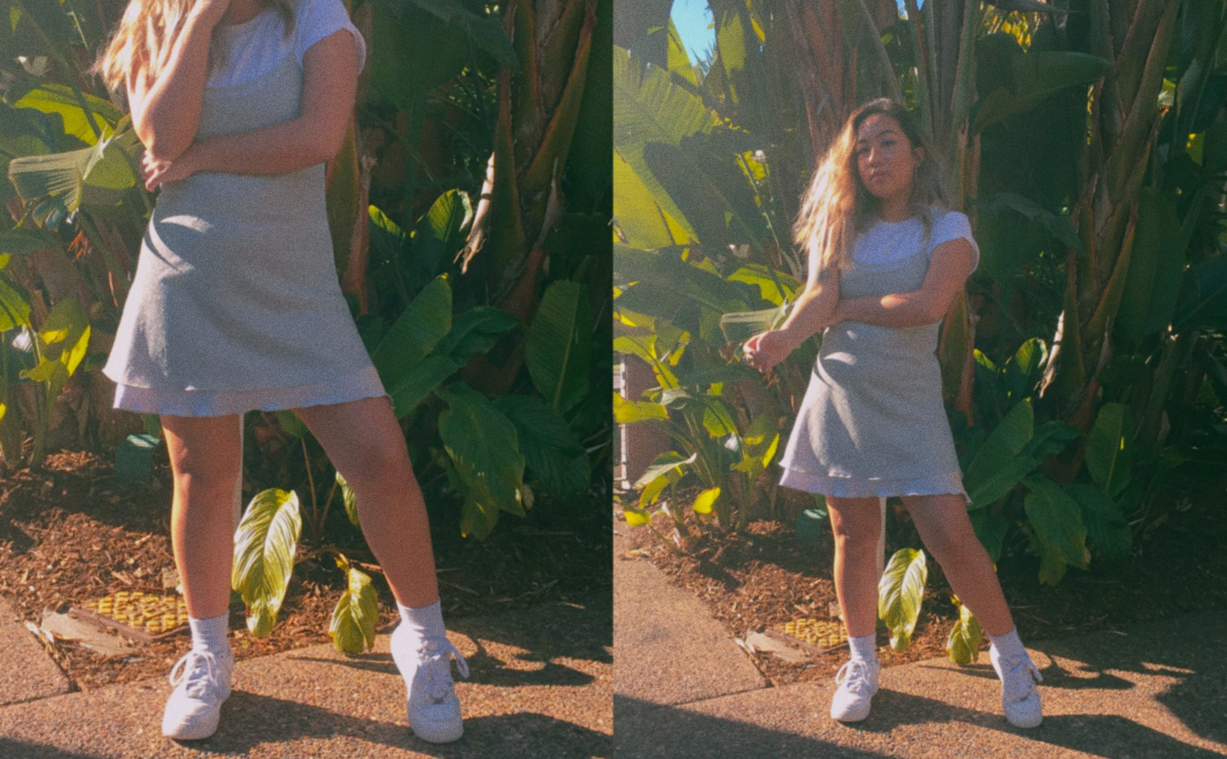 Slip Dress // Thrifted (Similar Items:  One ,  Two ) Top //  Plain White Tee  Socks //  Grey Ankle Socks  Shoes //  Nike Air Force 1