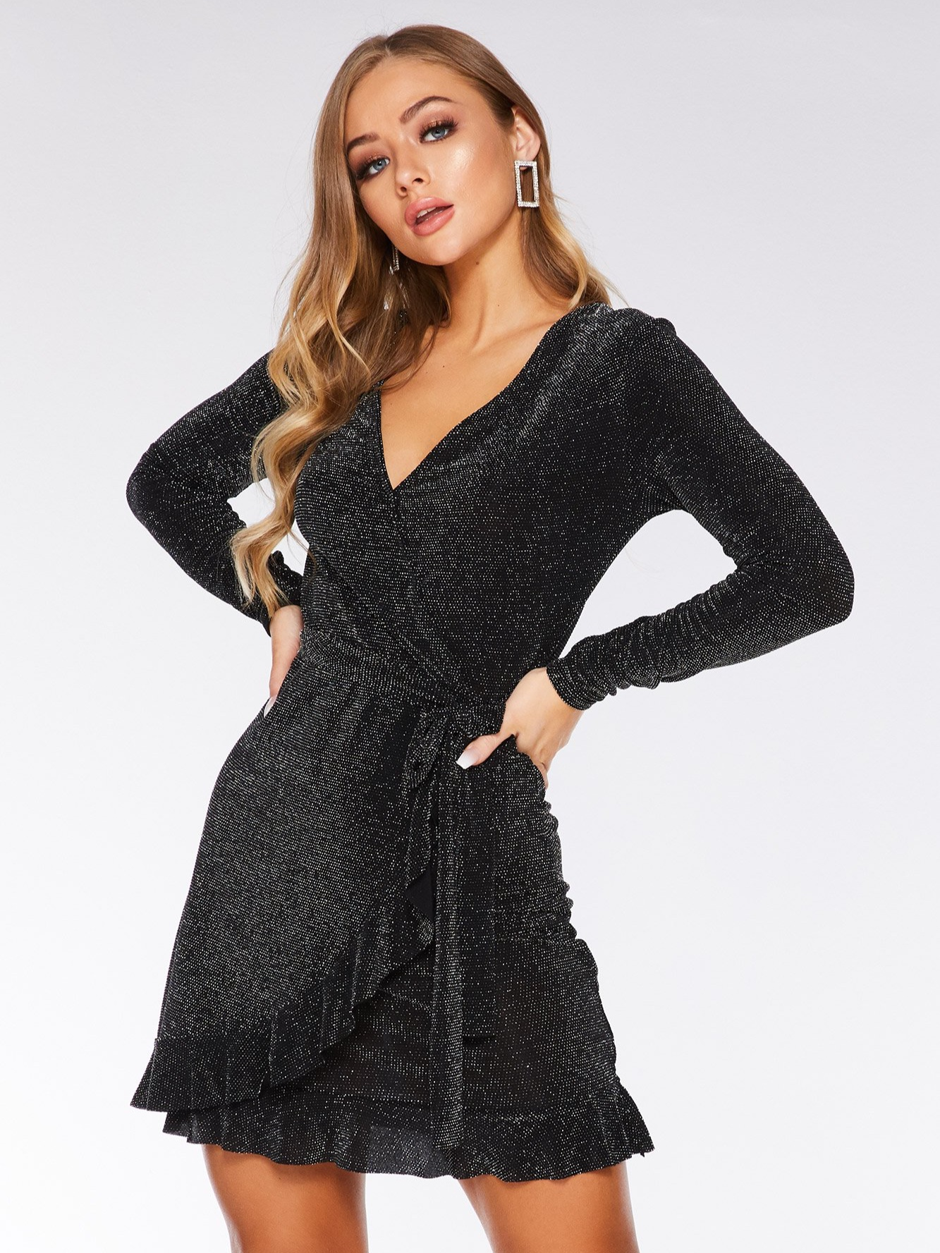 Black and Silver Glitter Wrap Dress (£29.99)