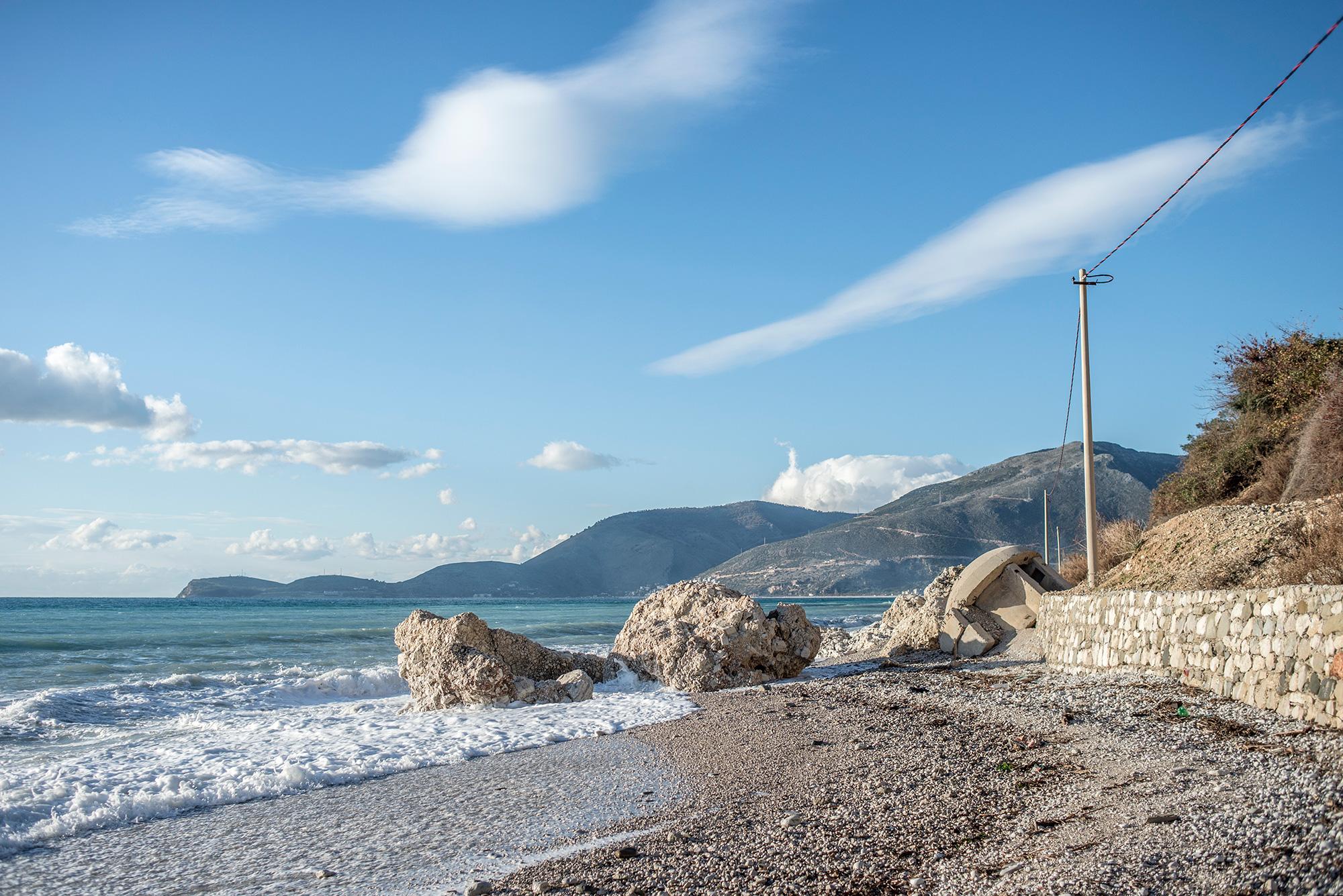 An abandoned bunker on the coast near Borsh, Albania