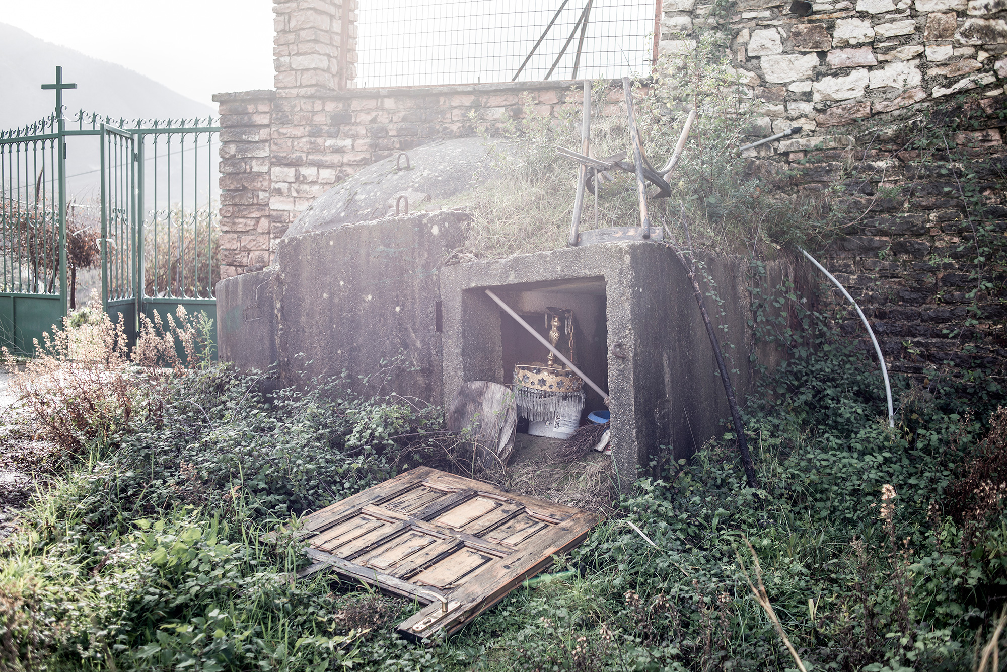 The bunker is used to store church utensils in the churchyard, Bistrica, Albania