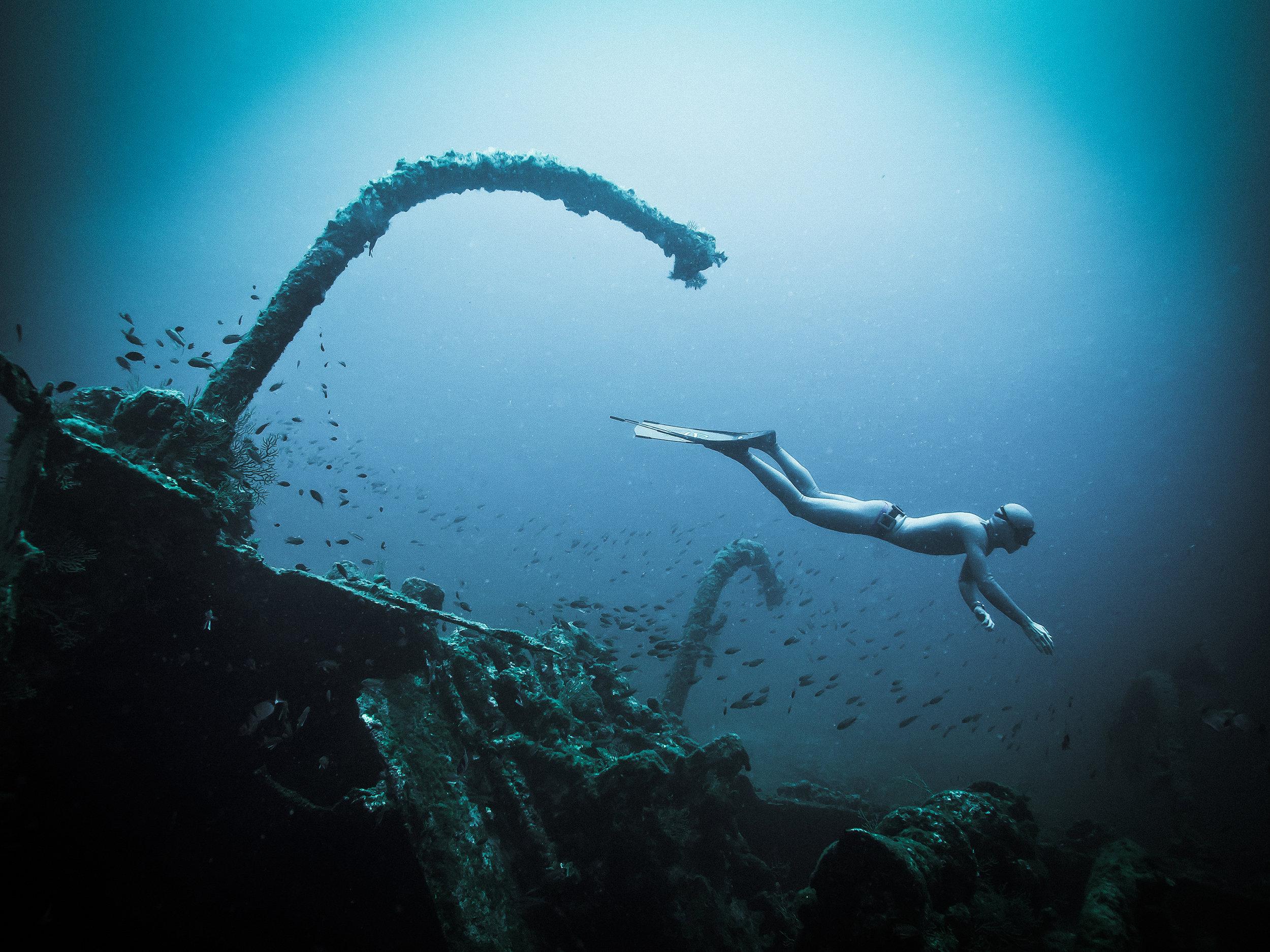Photo : Lionel Makaeiff -  Immersion sur l'épave du Liban, île Maïre