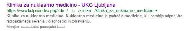 Google, geslo iskanja: neonatalni presejalni testi in klinika za nuklearno medicino, 10.5.2018.