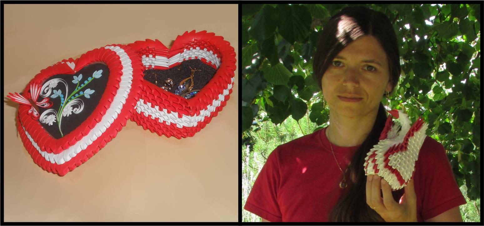 © Levo: Škatlica za nakit, 3D origami + quilling; Desno: Alenka Nemanič