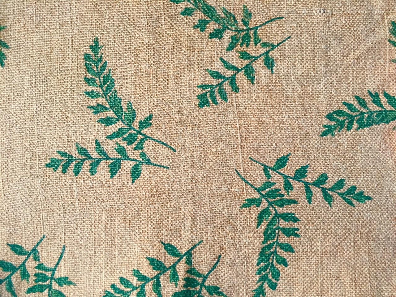 Tulsi Print on Camel Tone P005 - Earthy. Fallen leaves giving way to fresh saplings. Quintessential Burlap People. Free falling. Healing.