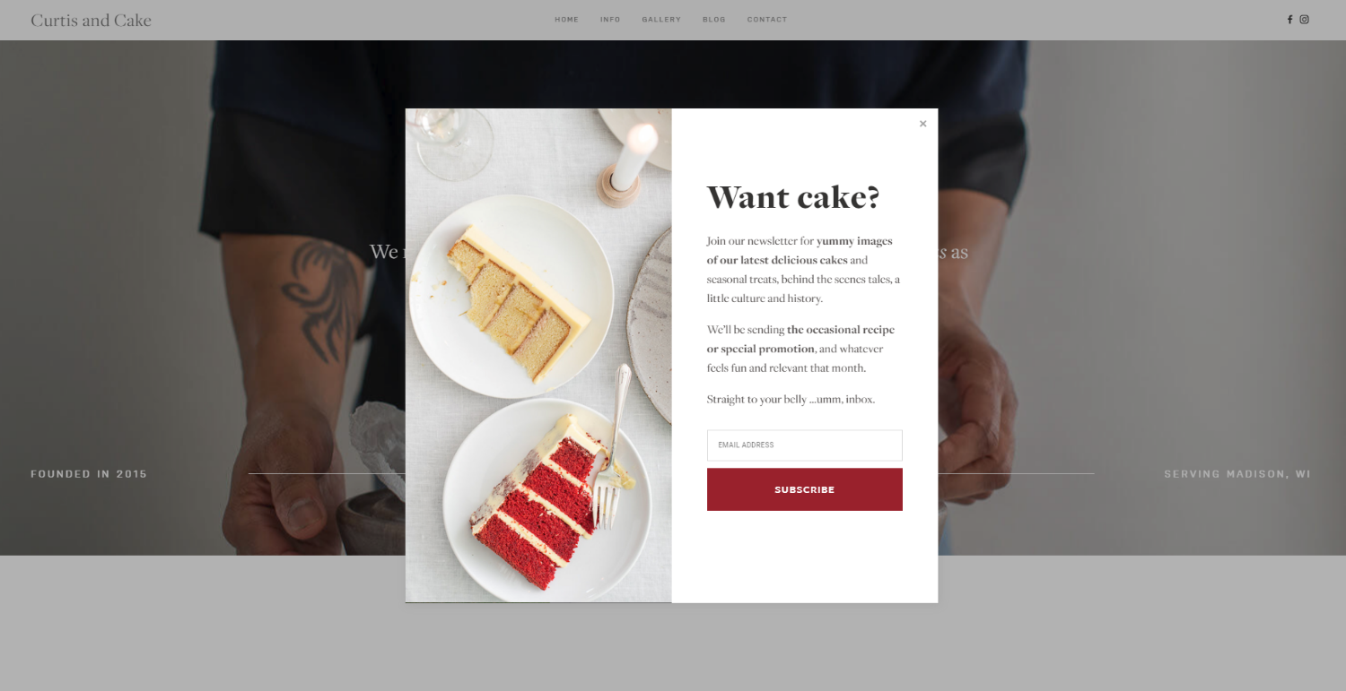 Curtis and Cake  Squarespace Website pop-up design and  Mailchimp  Automations by  Belinda Lee Briggs