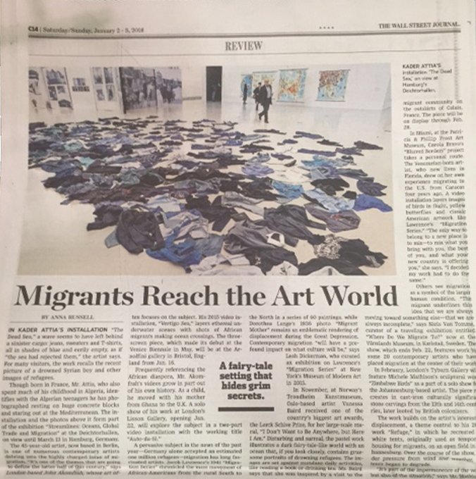 "Carola Bravo in the Wall Street Journal  On January 2, 2016 Carola Bravo was featured in an article titled "" Migrants Reach the Art World """