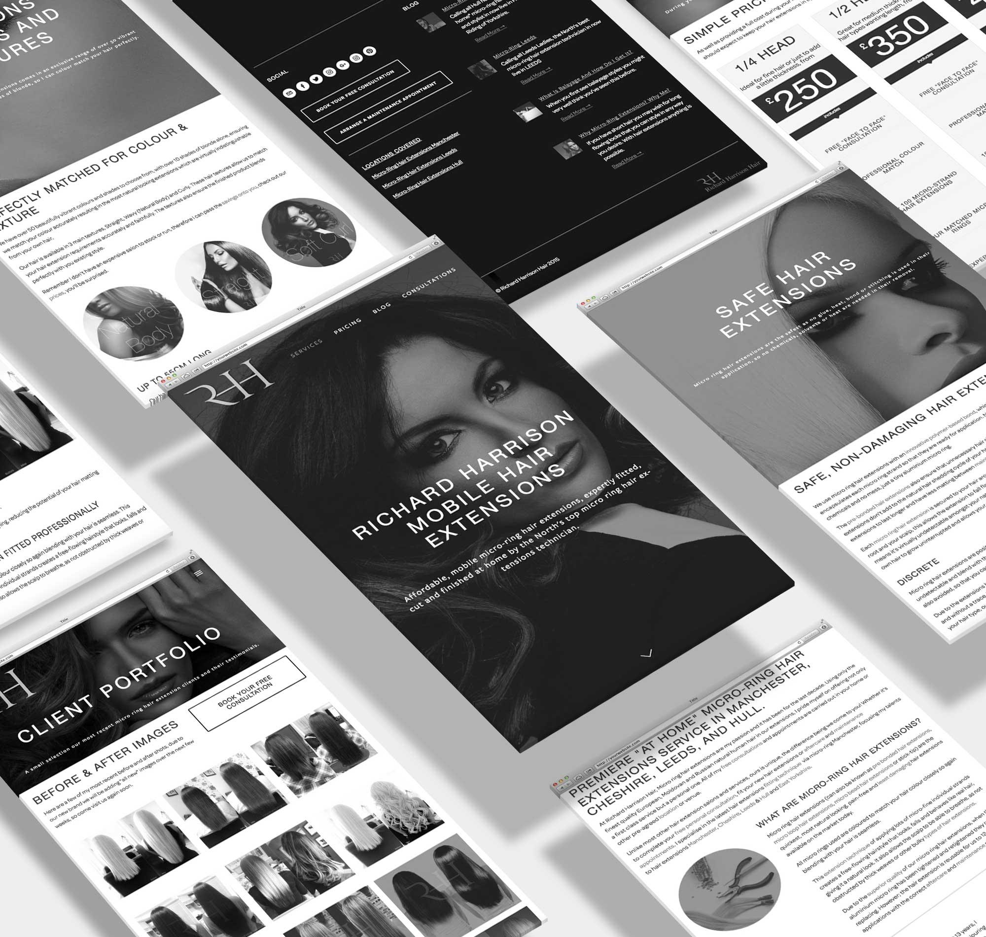 Lithium design developed a new logo and startup website for Richard Harrison Hair  richardharrisonhair.com