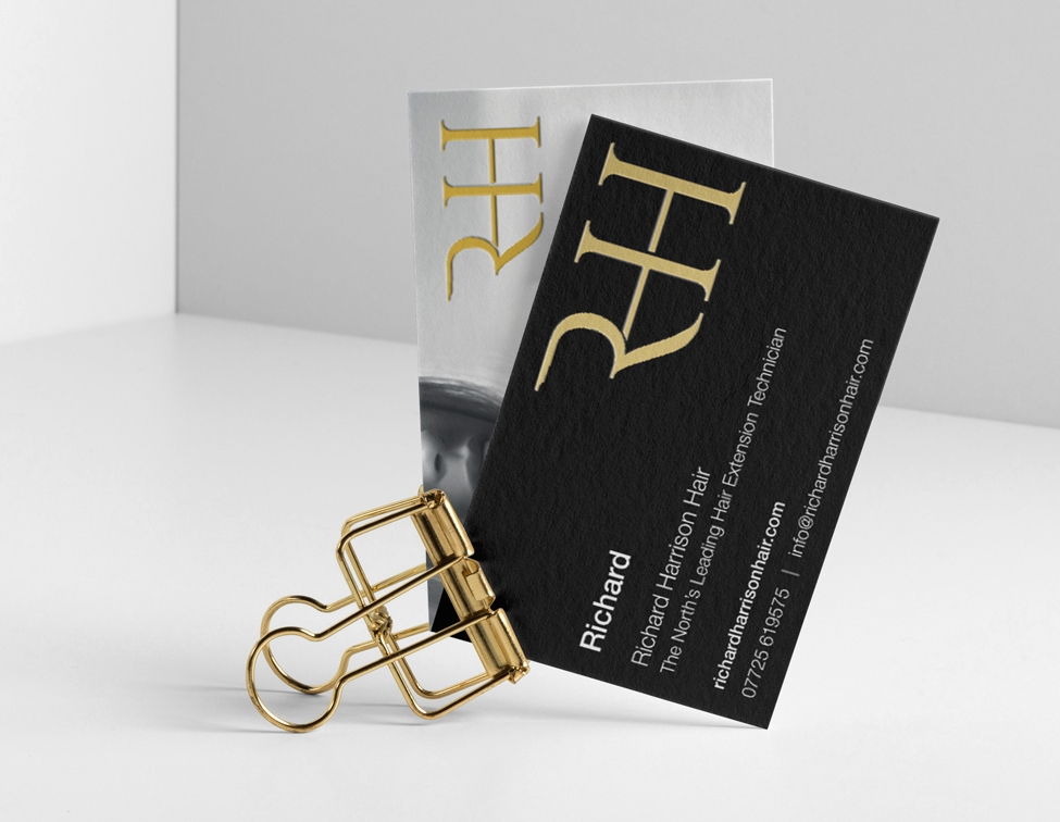 Richard Harrison Hair - Luxury, satin and gold foil business card