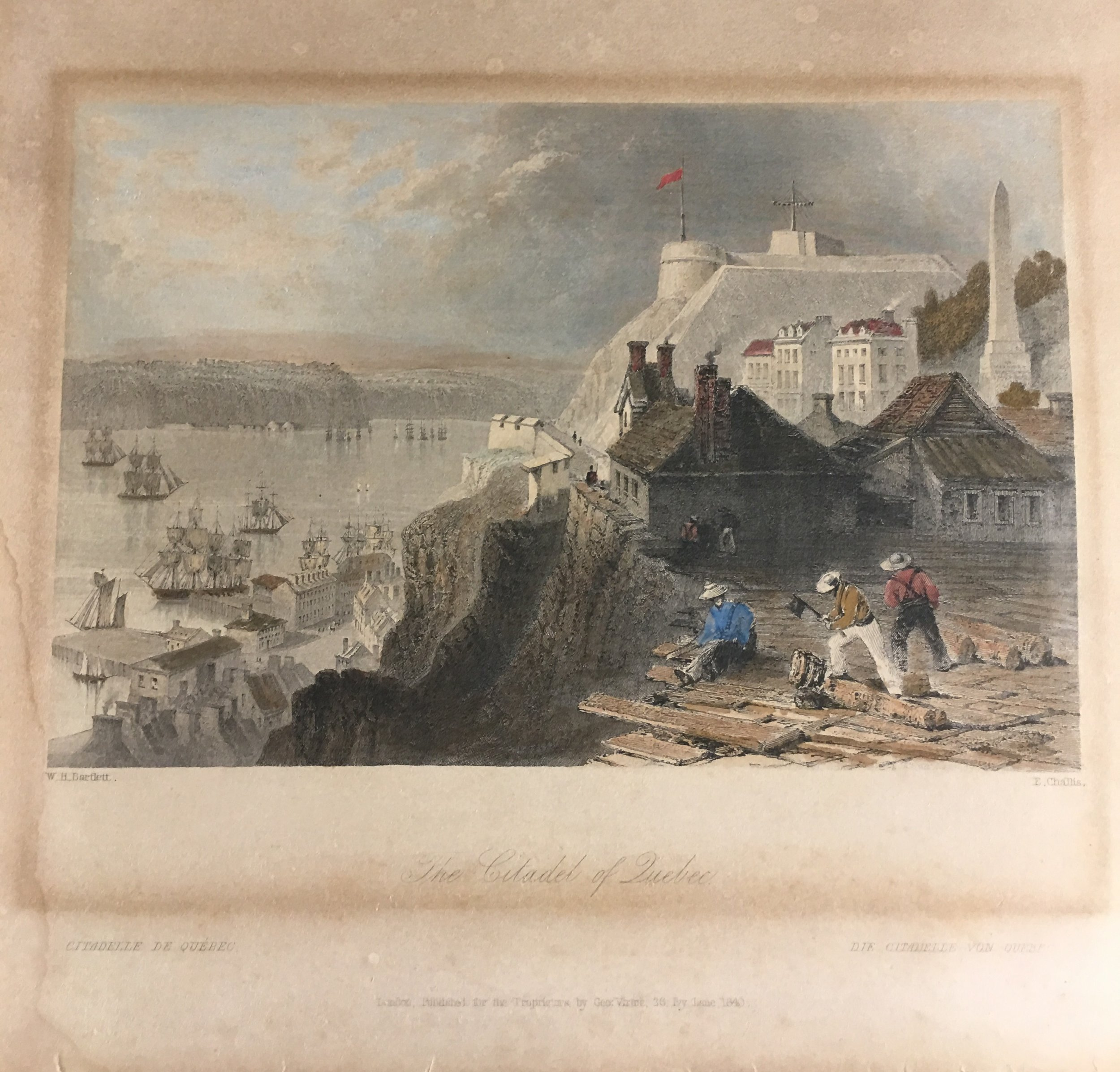 W.H. Bartlett Hand Colored Etching Citadel of Quebec Canada Published 1840