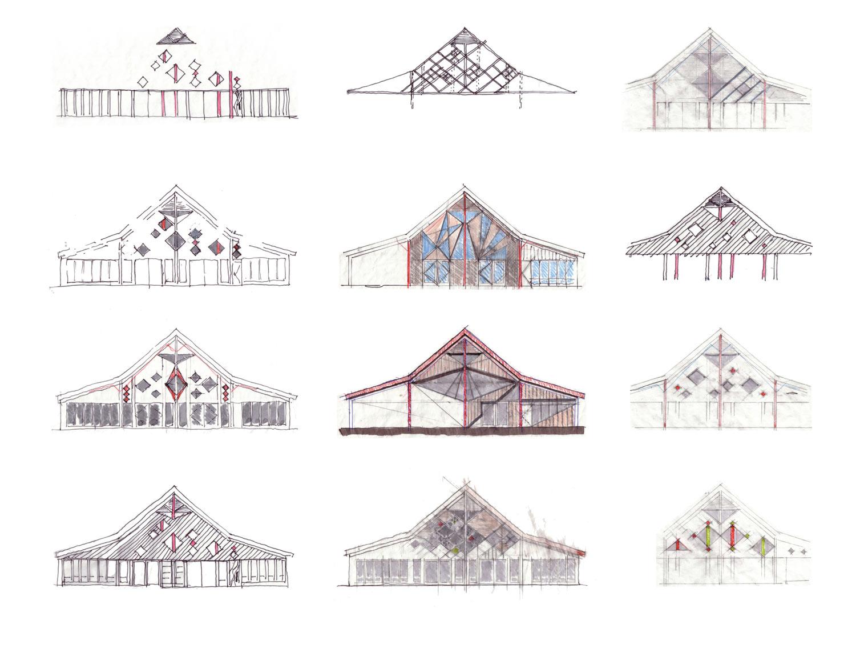 ….Design explorations of the south facade of the visitor centre. ..Explorations conceptuelles de la façade sud du centre d'information. ….