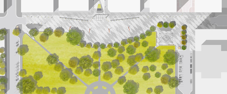 ….Regina City Square site plan..Plan du site de Regina City Square….