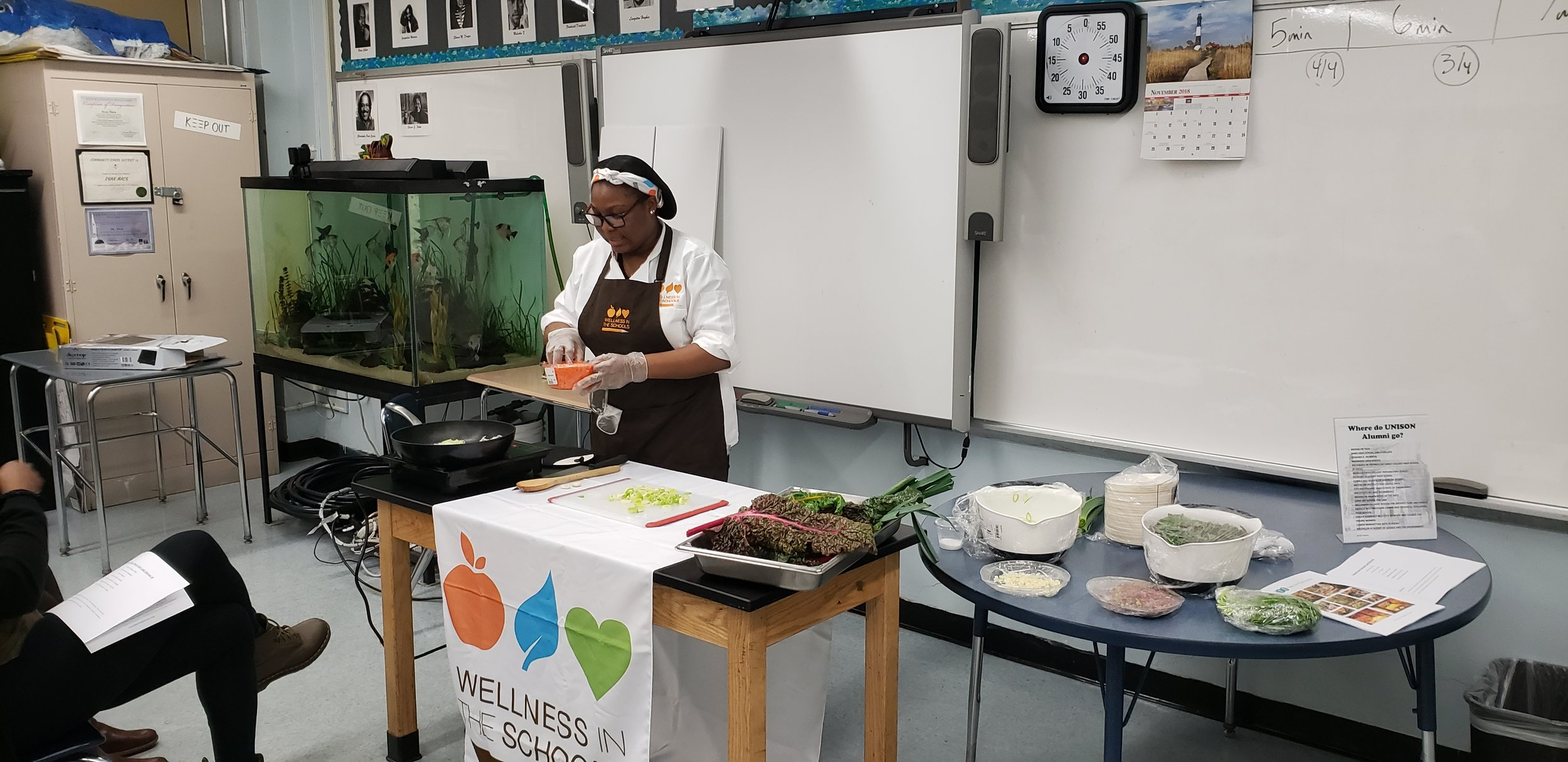 11.14.18 - We had a great PTA meeting with two of our amazing partnerships coming together to host a cooking demo! Thank you Teens for Food Justice for providing the amazing veggies from our hydroponic farm, and Chef Aliyah from Wellness In The Schools for showing up how to cook them!