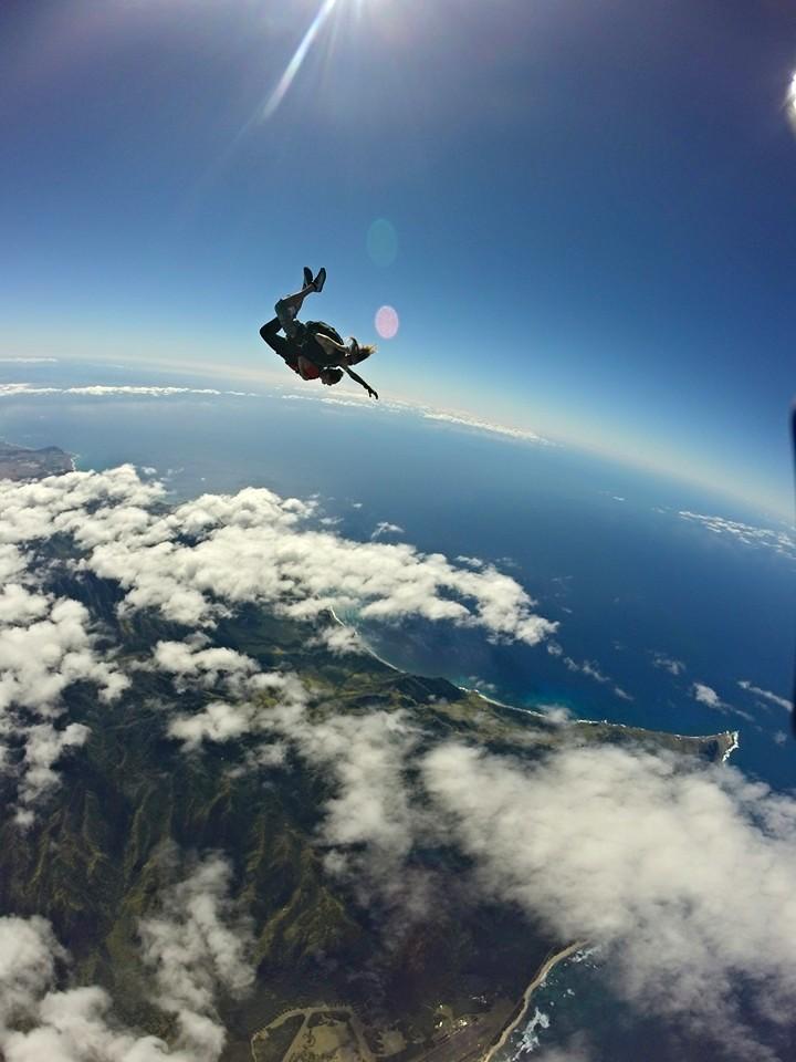 Sophia skydiving over Honolulu