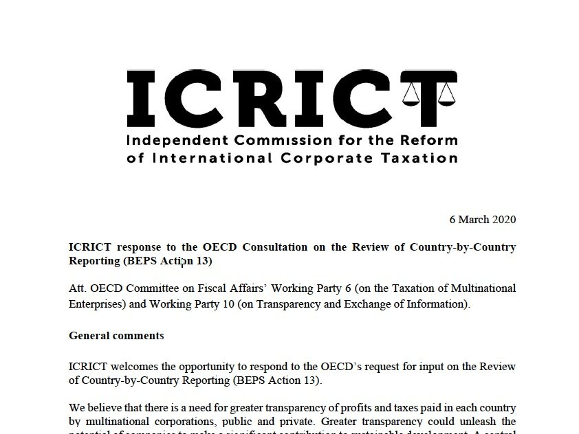 Icrict Independent Commission For The Reform Of International Corporate Taxation