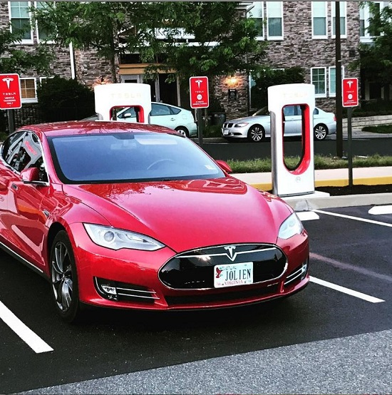 Tesla electric vehicle charging station at Stonefield Commons in Charlottesville