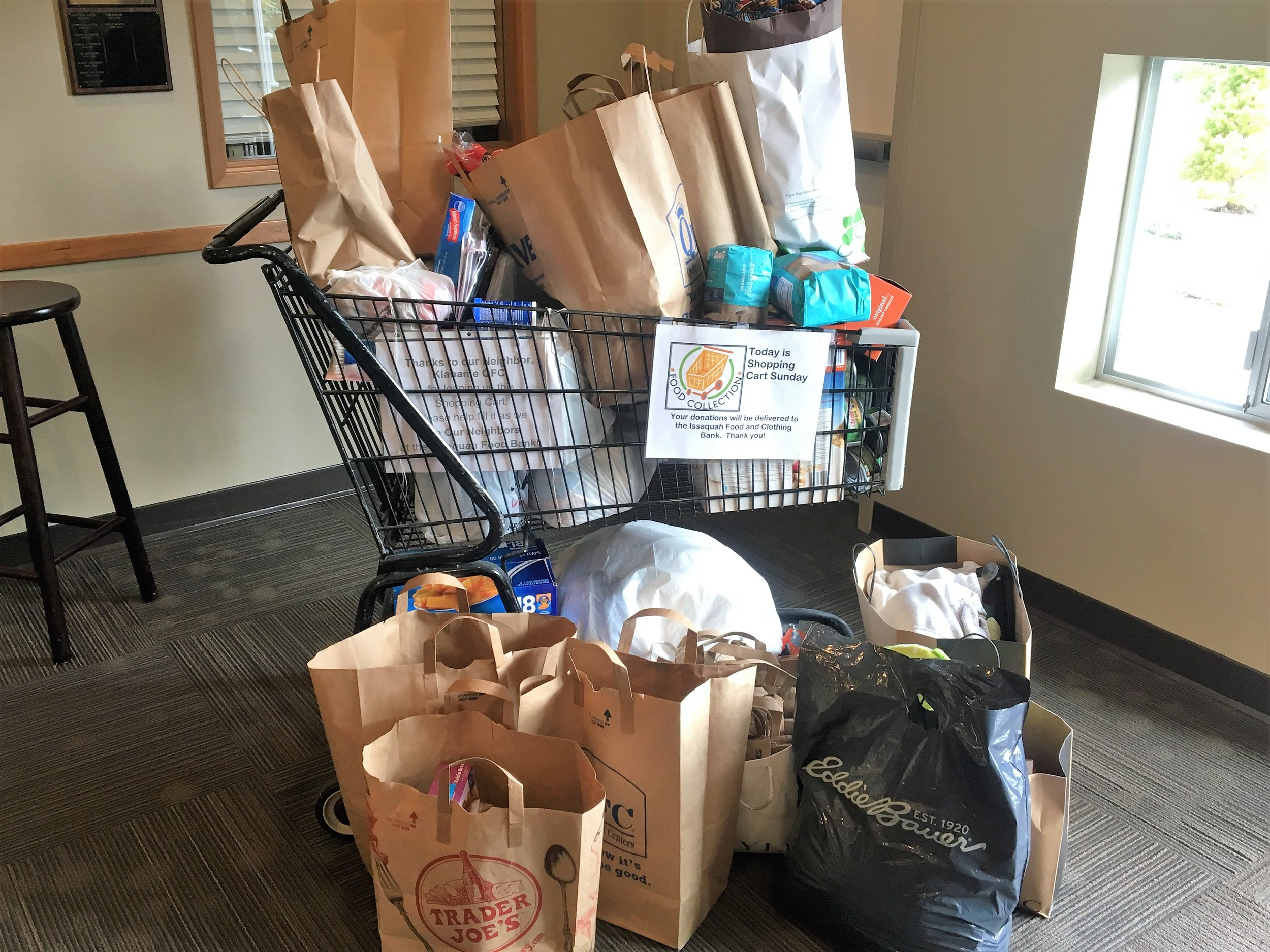 Issaquah Food and Clothing Bank collection at Shepherd of the Hills Lutheran Church in Sammamish, WA.