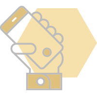 graphic of hand holding phone