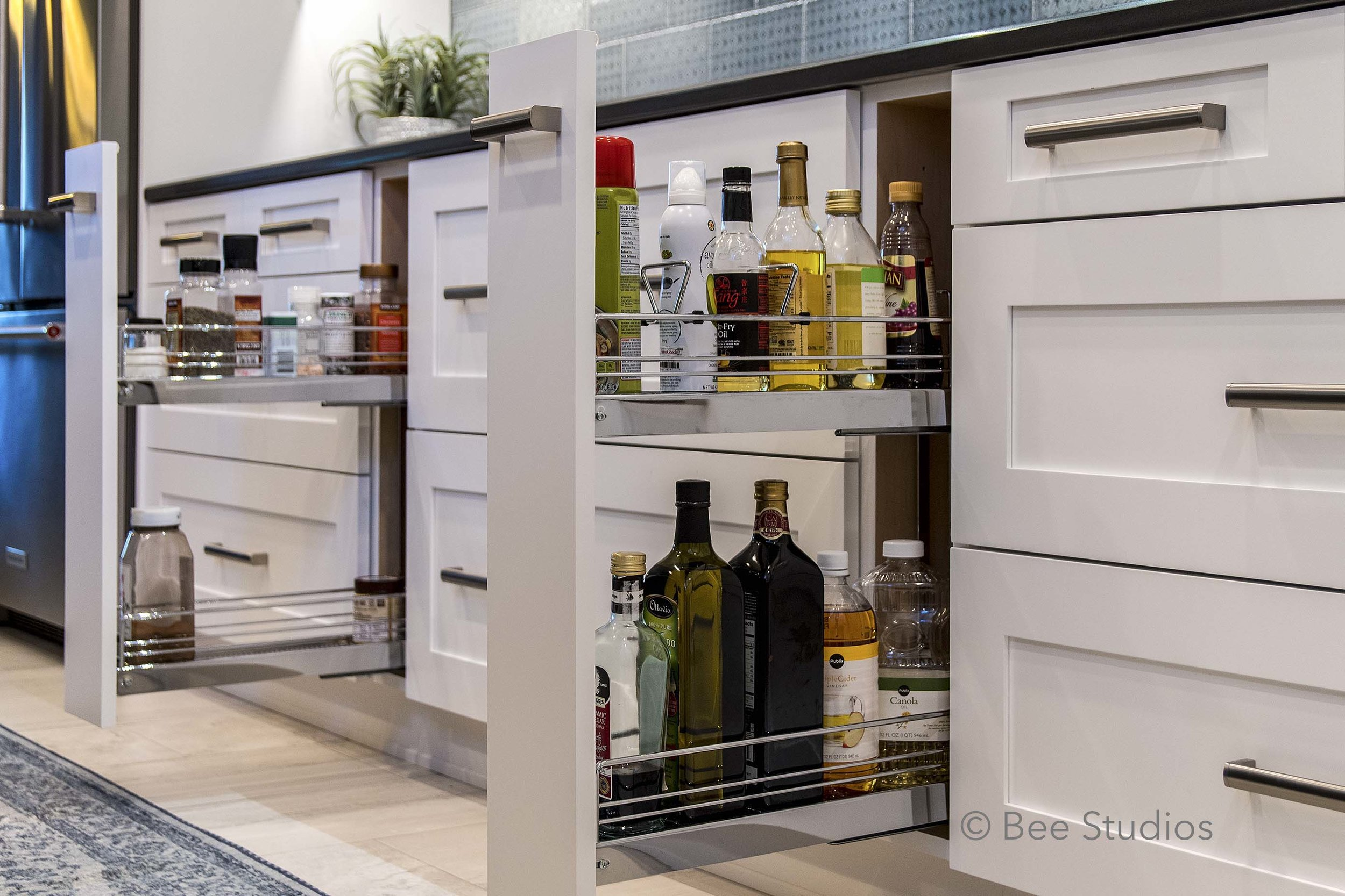 Pullout storage for spices and cooking oils