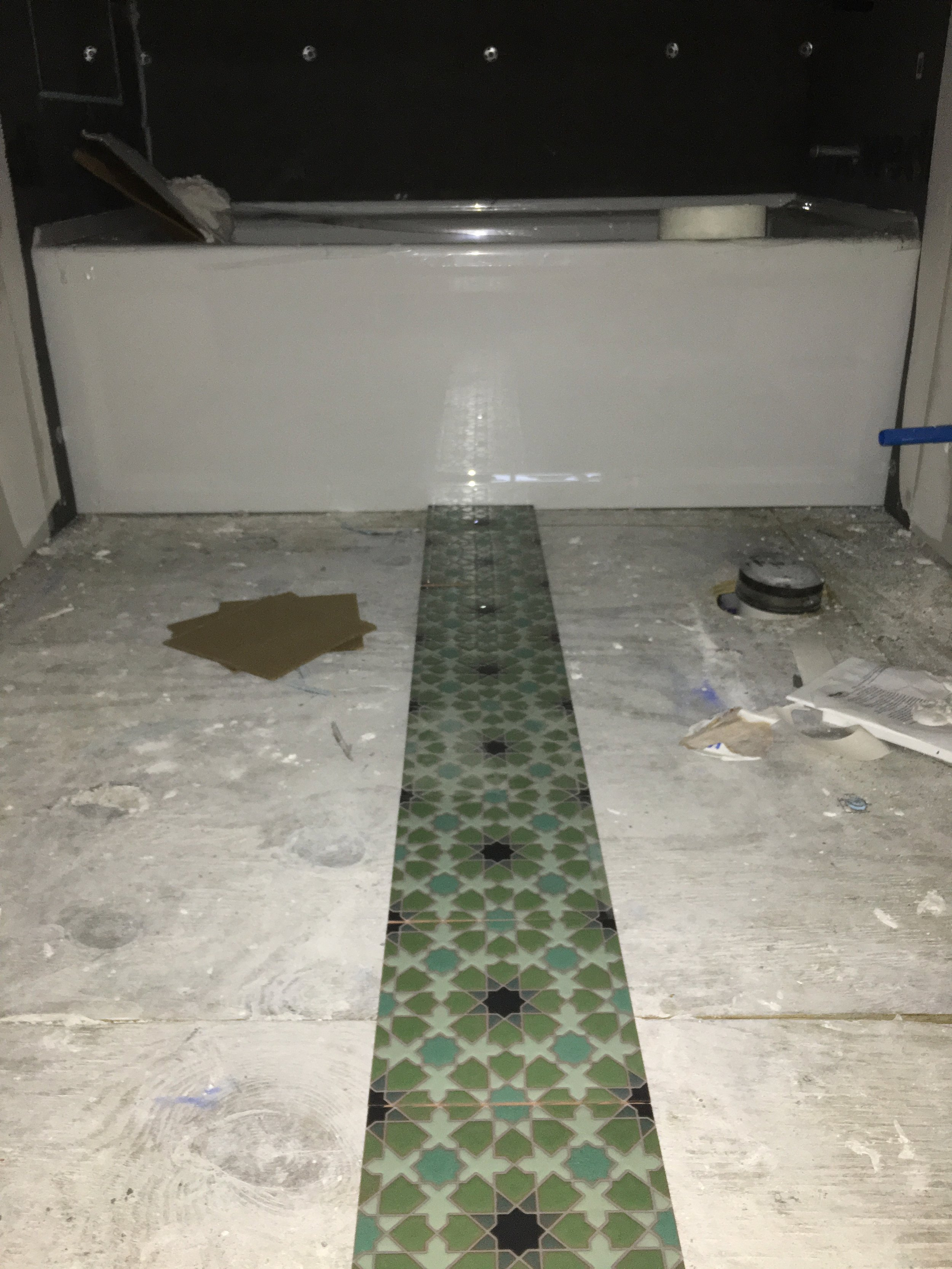 Laying out the floor tile pattern