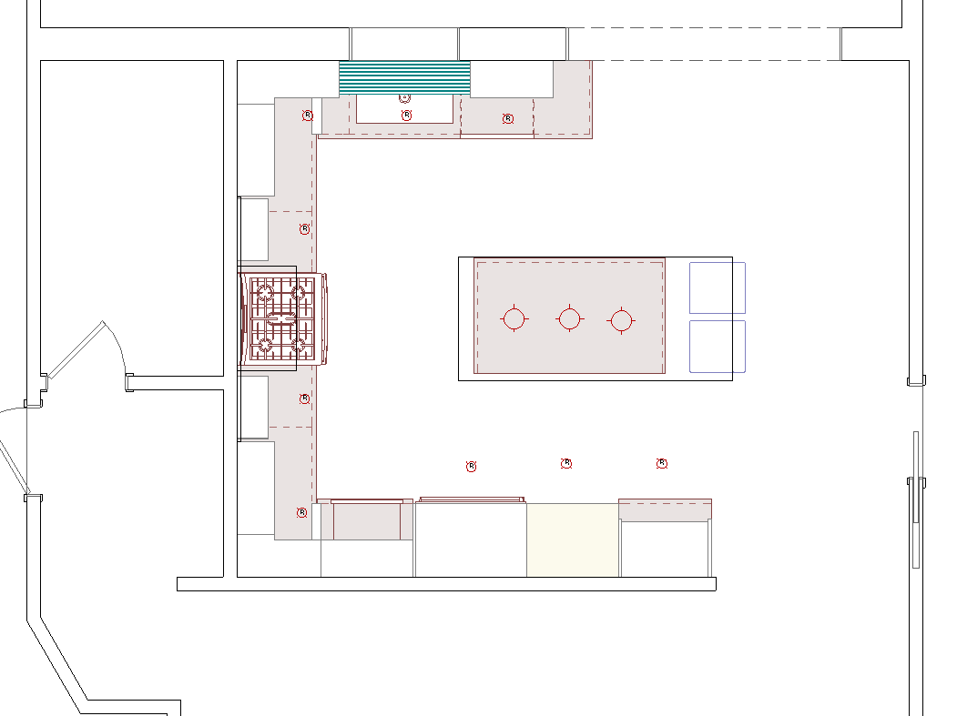 The new floorplan- centered range, proper pantry, microwave drawer, island with seating, and a cleanup zone by the sink and dishwasher.