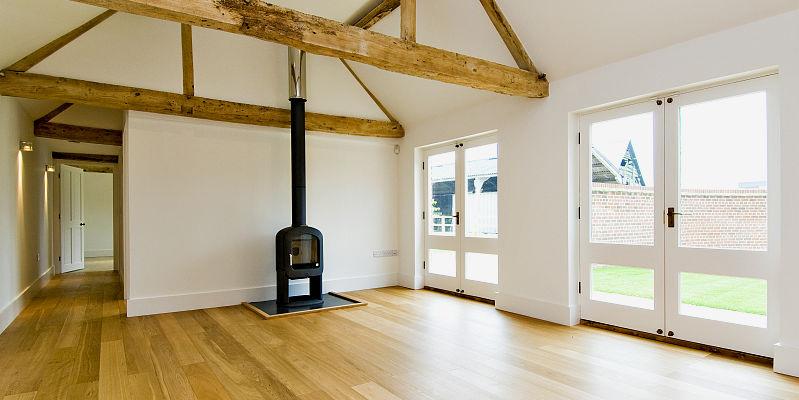 Sitting room area with wood burning stove – North Barn, Tredington