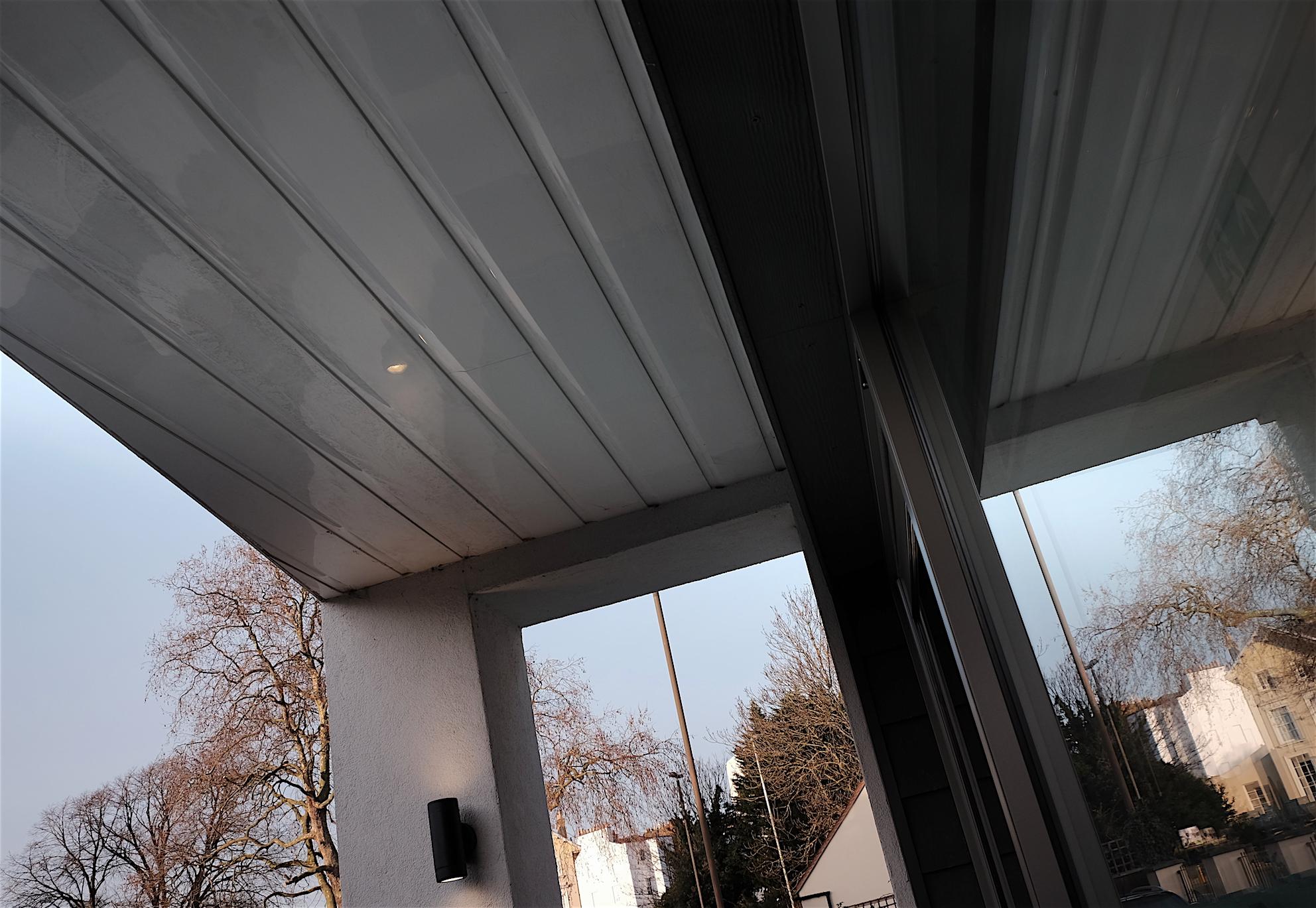 External cladding and aluminium door detail