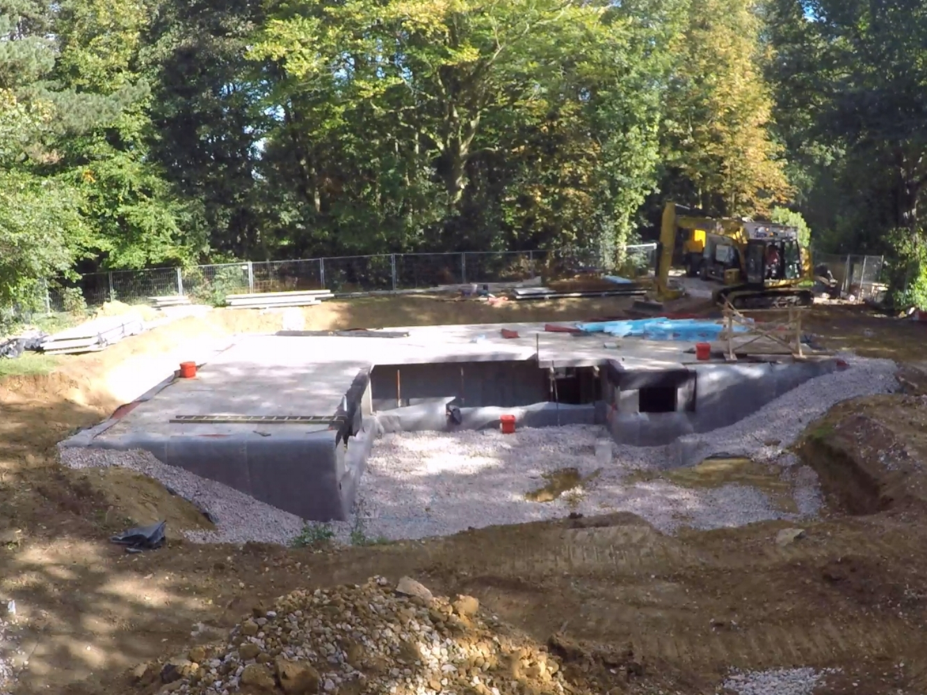 New residential build, here phase one, excavation for basement and sunken garden – Beechgrove, Upton St Leonards, Gloucestershire