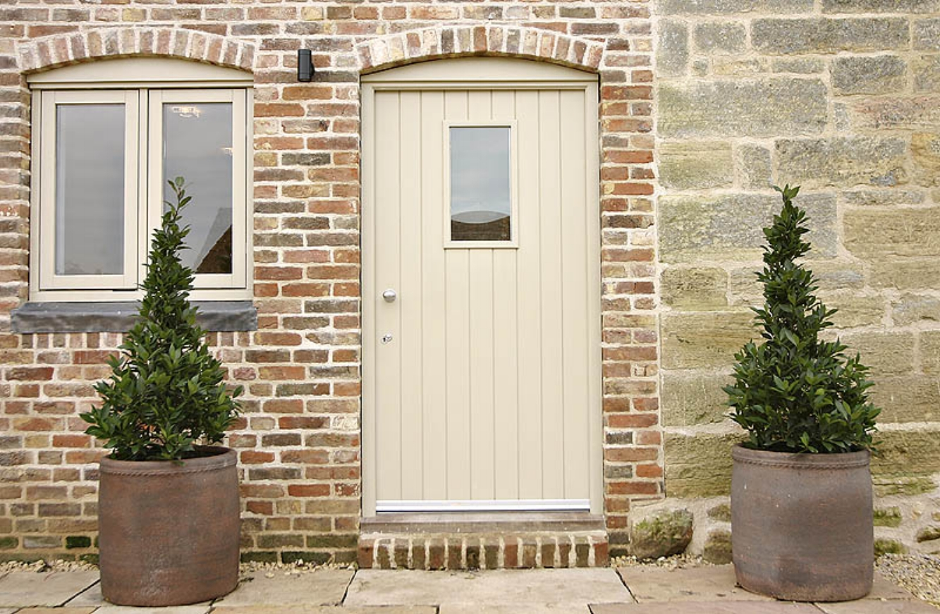 Completed entrance to barn conversion, after repointing and cleaning exterior brick and stone work