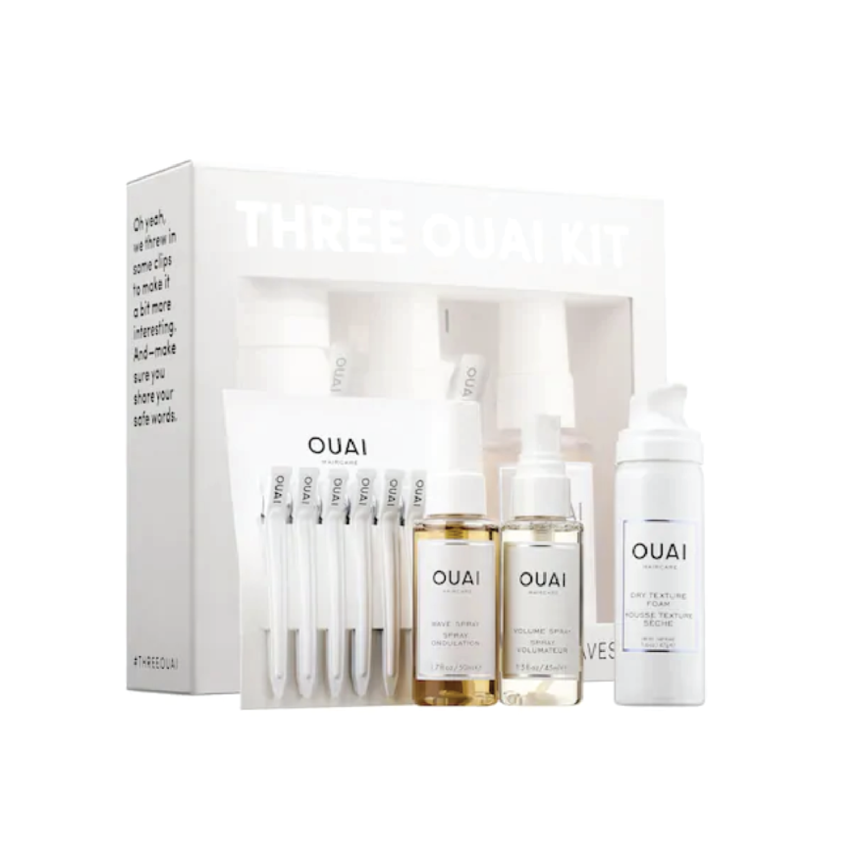 Ouai Three Ouai Kit - $25 at SephoraThis mini set includes a dry texture foam, wave spray, volume spray and styling clips. Honestly such a great deal for a stocking stuffer.