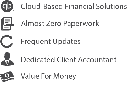 Cloud based Financial Solution, Almost Zero Paperwork, Frequent Updates, Dedicated client Accountant, Value for Money