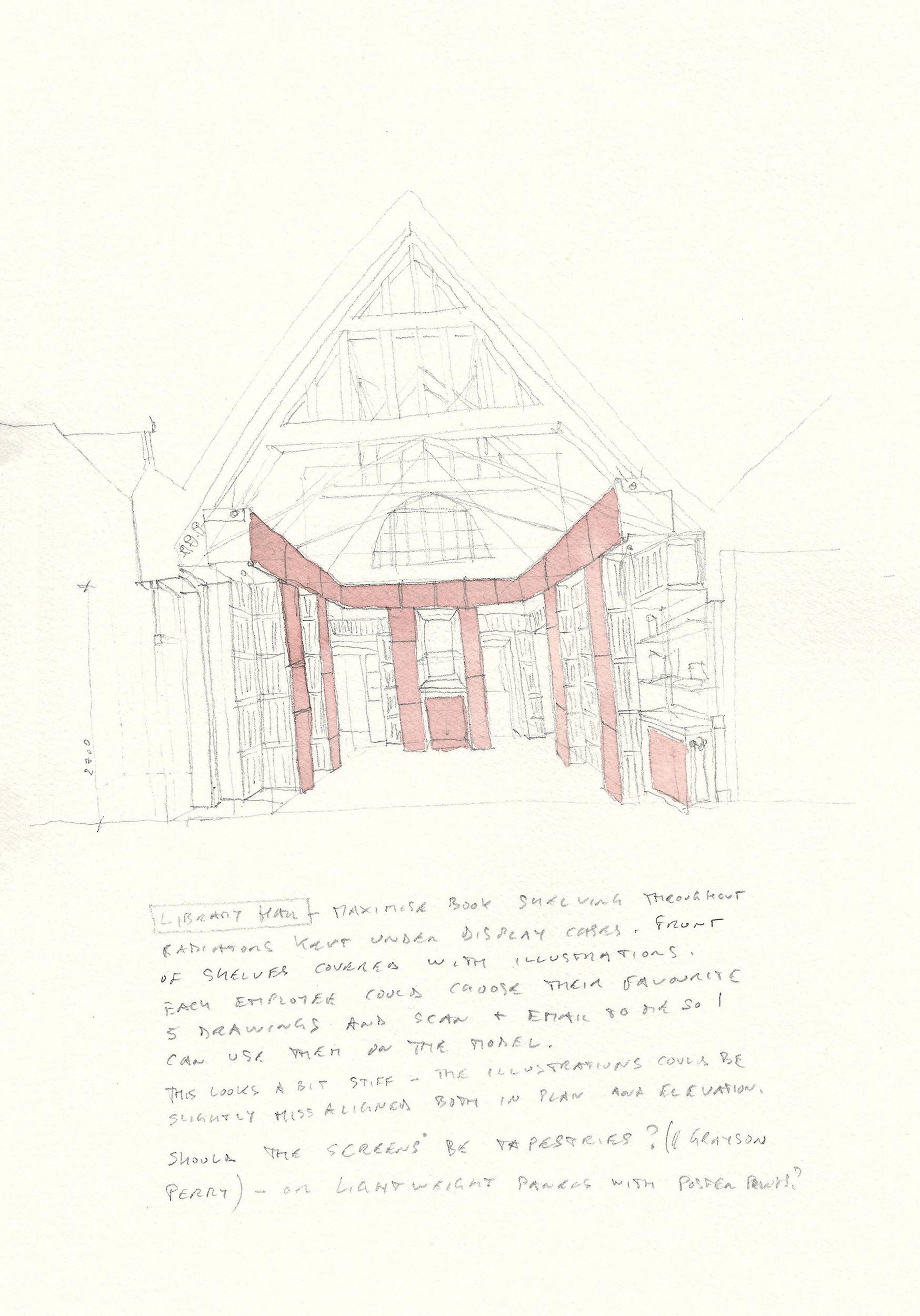 Original concept sketch for the library