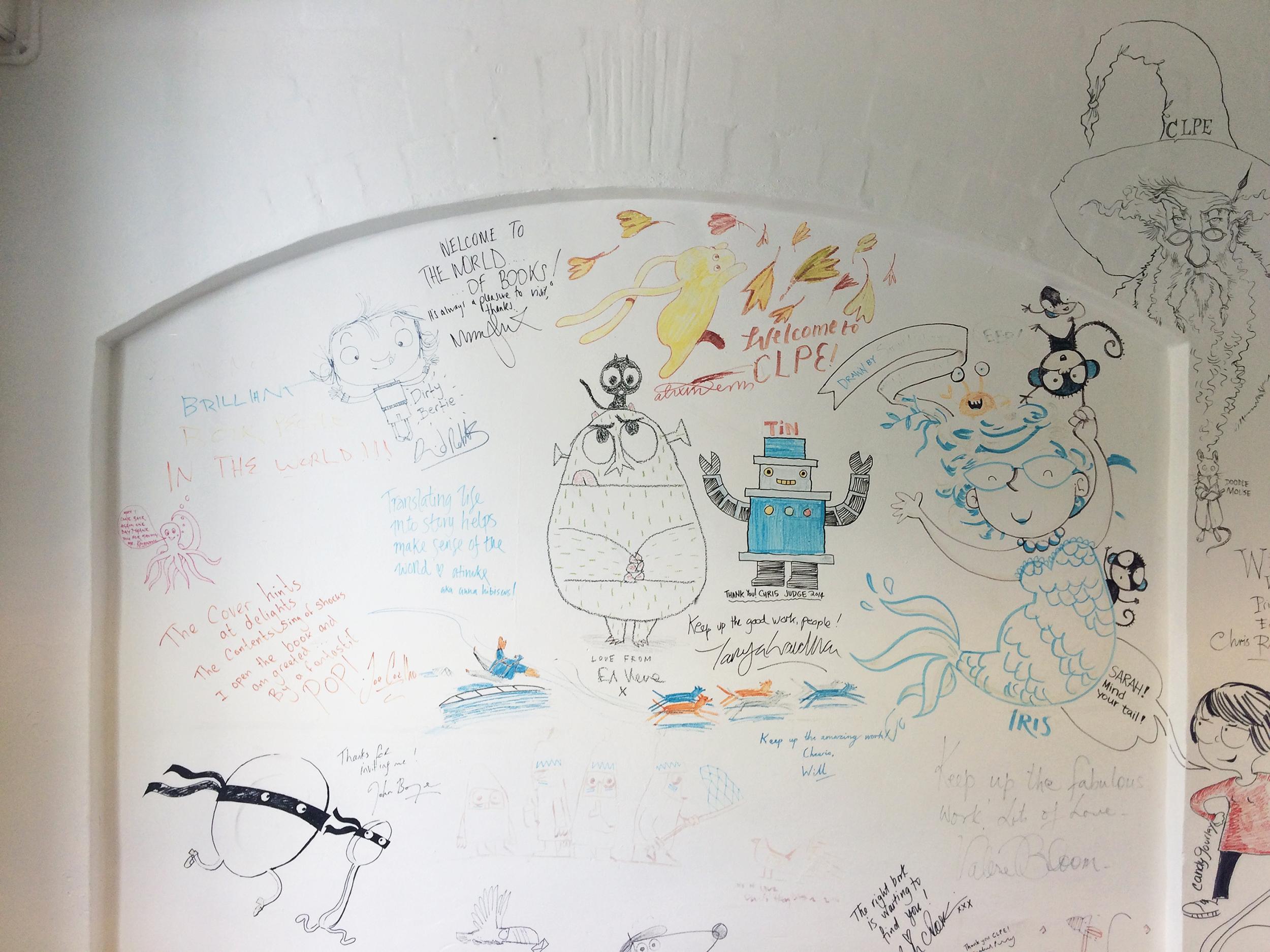 Original wall of illustrators drawings