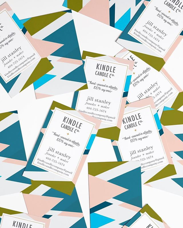 Piles of business cards! So much fun with this pattern and color palette that I'm using it as the Kindle business cards. . . . . #businesscards #branddesign #atlgraphicdesigner #candlemaking #candle #candleshop #entrepreneur #colorpalette #spring #kindlecandlecompany #calledtobecreative #creativebiz #geometricart #abstractart #modernart #patterns #illustration #illustrator #fwportfolio #branddesign #dscolor #whitespacewinter #logodesinger #atlanta #atlantagraphicdesigner #design #graphicdesign #creativeladydirectory