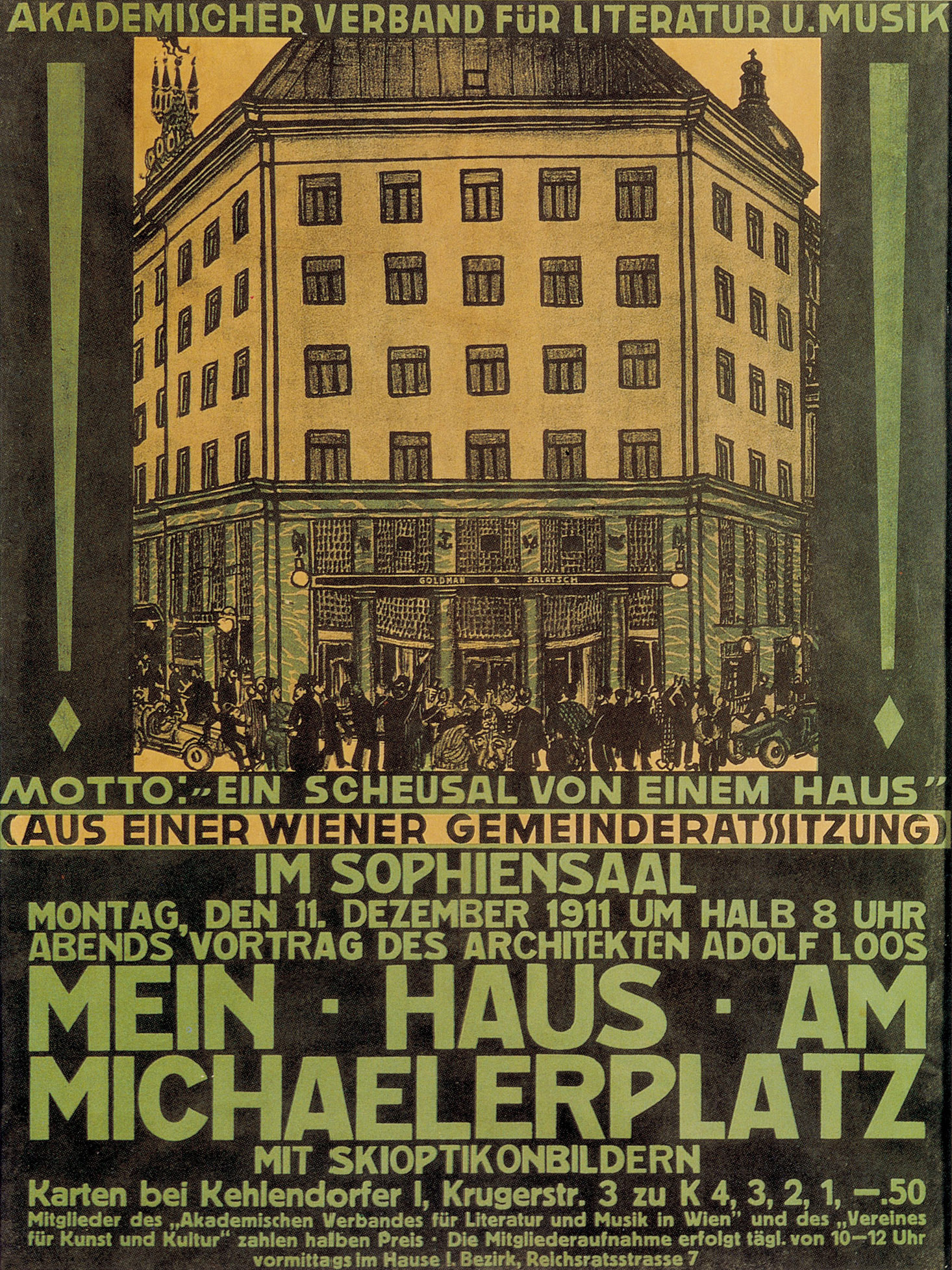 "Adolf Loos: Note on the Michaelerplatz House   ""What is necessary as decoration should be honestly applied manually, which was the opinion of our old Baroque masters, in those happy times before there was any building law because each individual bore the law in his heart."""