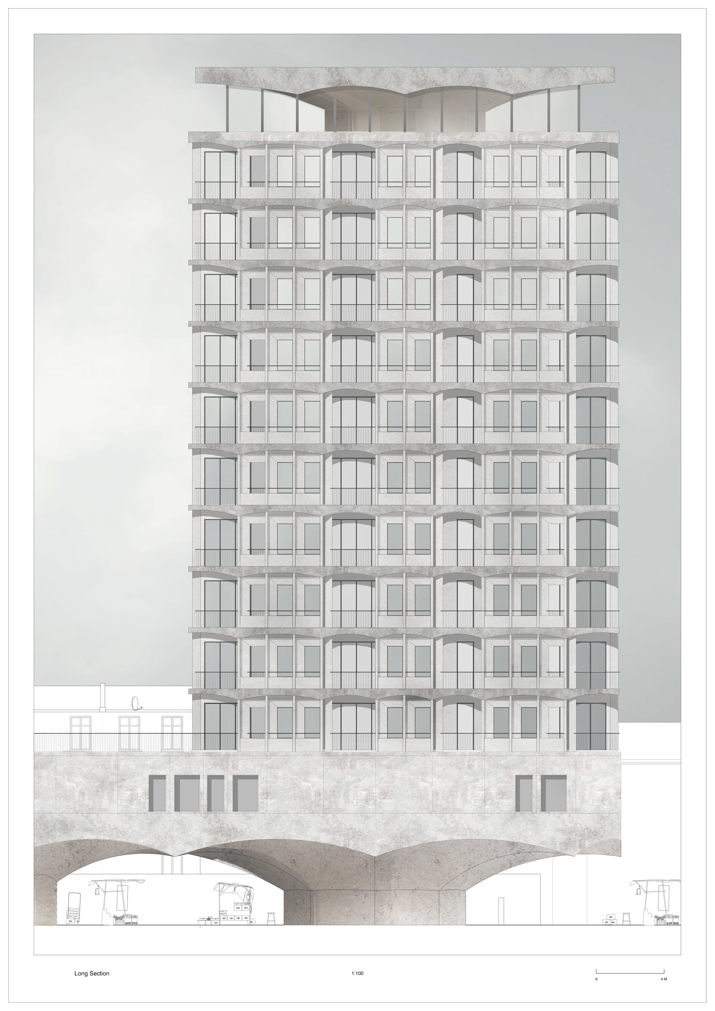 Rendered Elevation, 1 to 100 scale