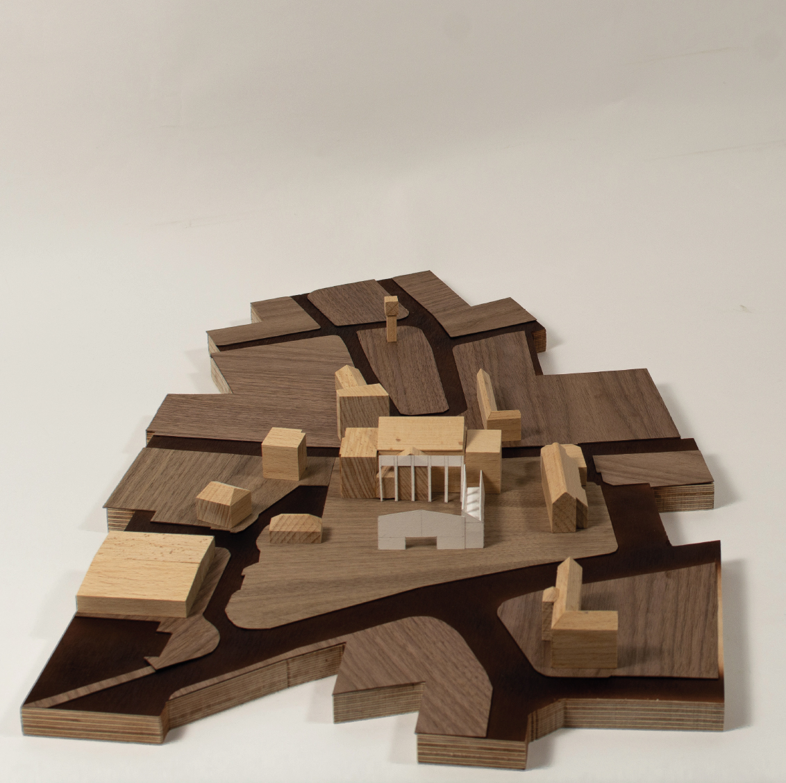 Model showing the Market at the rear of the Town Hall