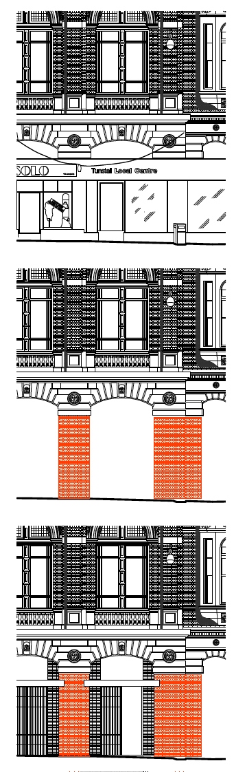 Proposed sequence of opening up the existing facade and grafting on new construction.