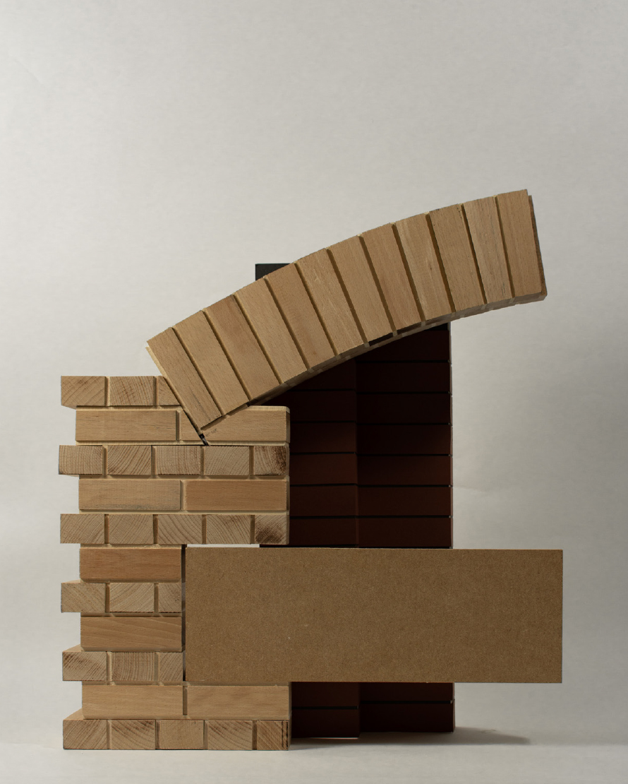 Timber model of proposed new lintel