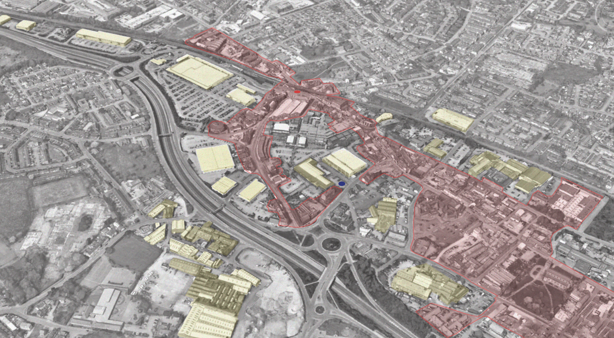 Overview of Longton showing the Conservation Area (red) and the ubiquitous presence of the Pre-fabricated Steel Buildings (yellow)