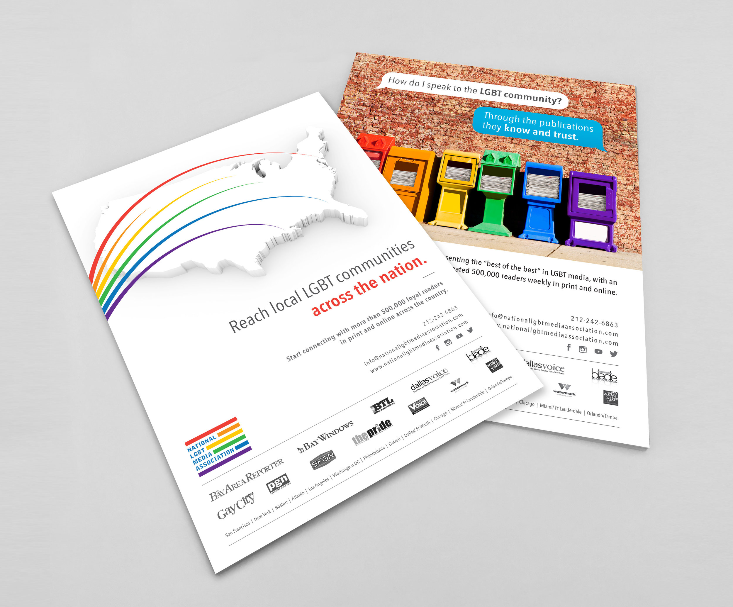 NATIONAL LGBT MEDIA ASSOCIATION:  Rebrand + Publication Ads