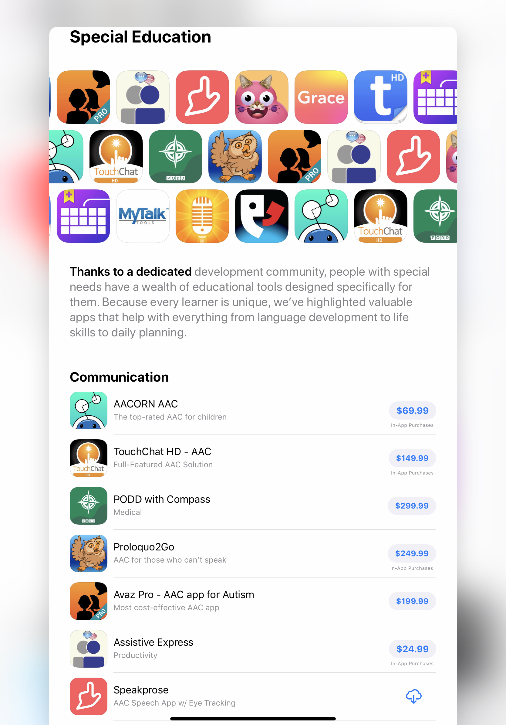 SP in Special Ed App Store Feature