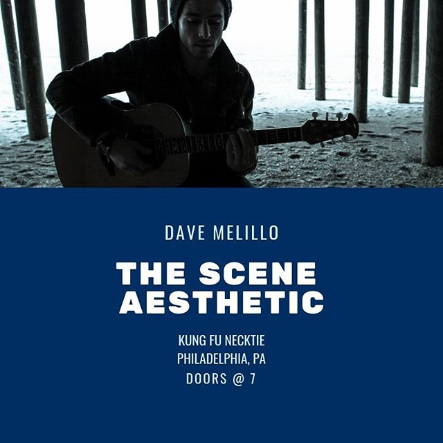 Playing tonight @kungfunecktie_bar with @thesceneaesthetic, doors at 7 come hang! Might have some vintage merch with me for sale 🤓 • • • #davemelillo #melillomondays #musician #podcast #pizza #livemusic #cats #philly #artist #beach #tour #imback #itsfree #free #supportlocalmusic