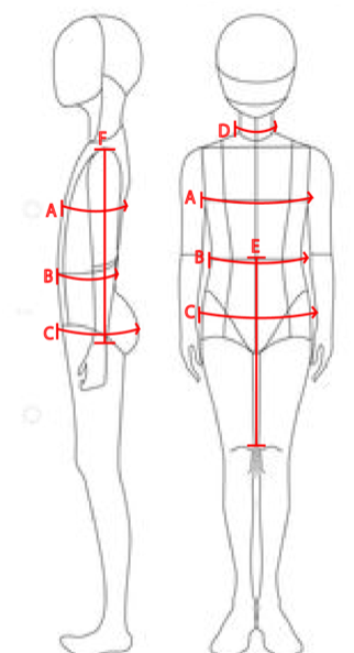 How to measure various points - A: Chest Measurement (around the entire body)B: Waist Measurement: Smallest part (around the entire body)C: Hip Measurement: Around the largest part of the booty (around the entire body)D: Neck Measurement: (around the entire neck)E: Waist to Knee: from the waist to the top of the kneeF: Arm Length: Top of shoulder to the wrist.