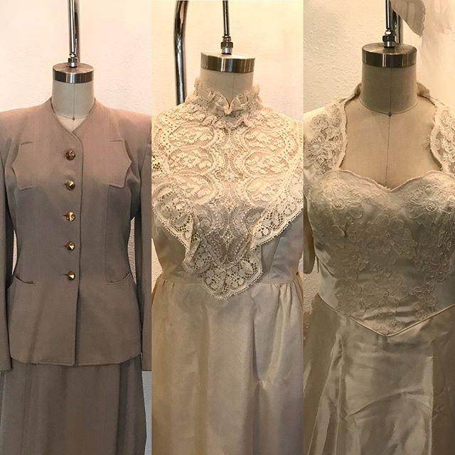 The three dresses I was working with on my recent project! They belong to the baby's great grandmother, great aunt, and grandmother. Two of these wonderful women have passed, and working with dresses that held so much meaning in their lives was an amazing experience. Every piece I made included bits from all three garments. I feel so honored to have been trusted with such a special project!