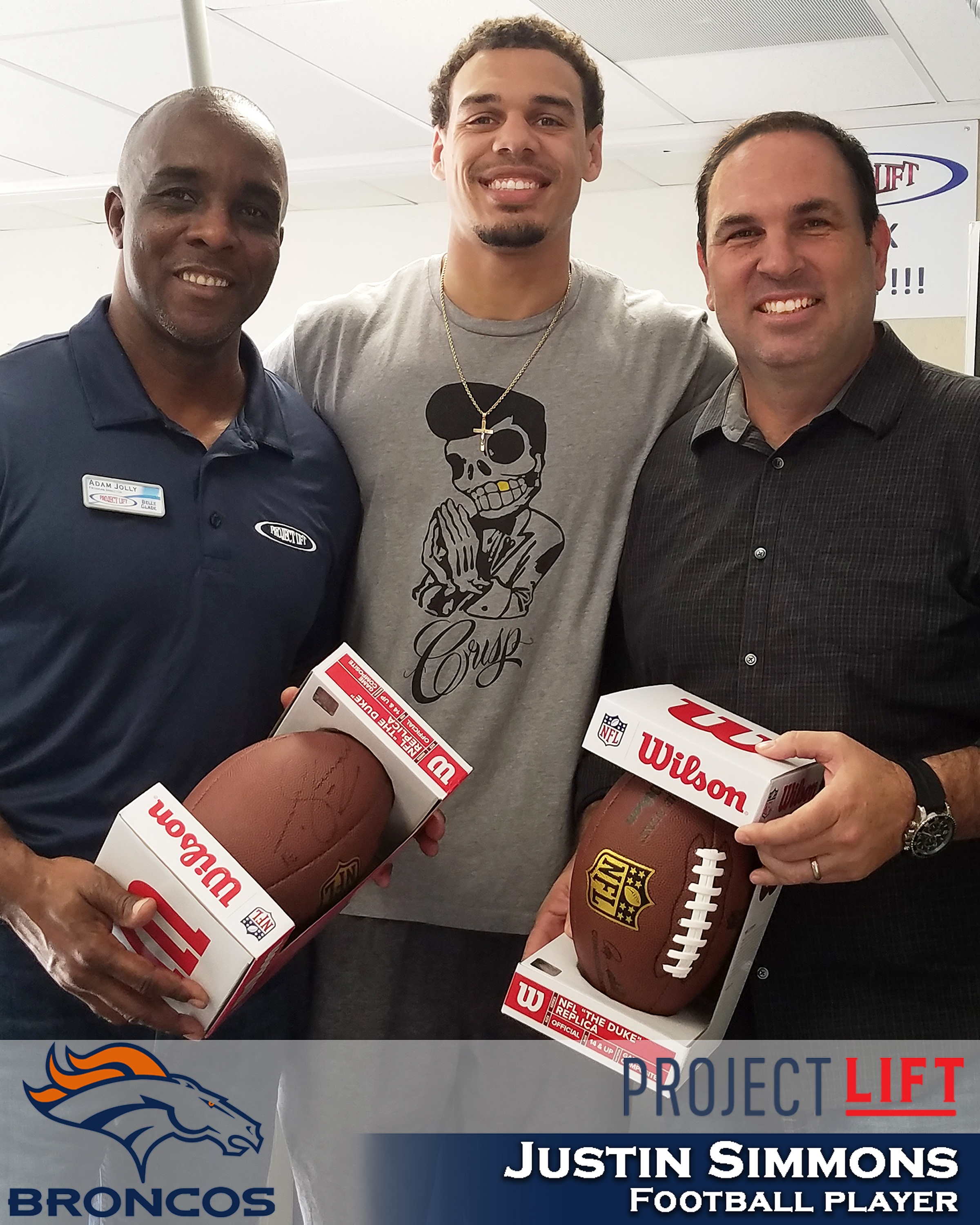 Justin Simmons, Safety for the Denver Broncos - Martin County High School Alumni, Professional Football player and proud supporter of Project LIFT!Justin stopped by to meet some of our staff and teens and to show some love to Project LIFT and our mission.Thanks so much Justin!!!