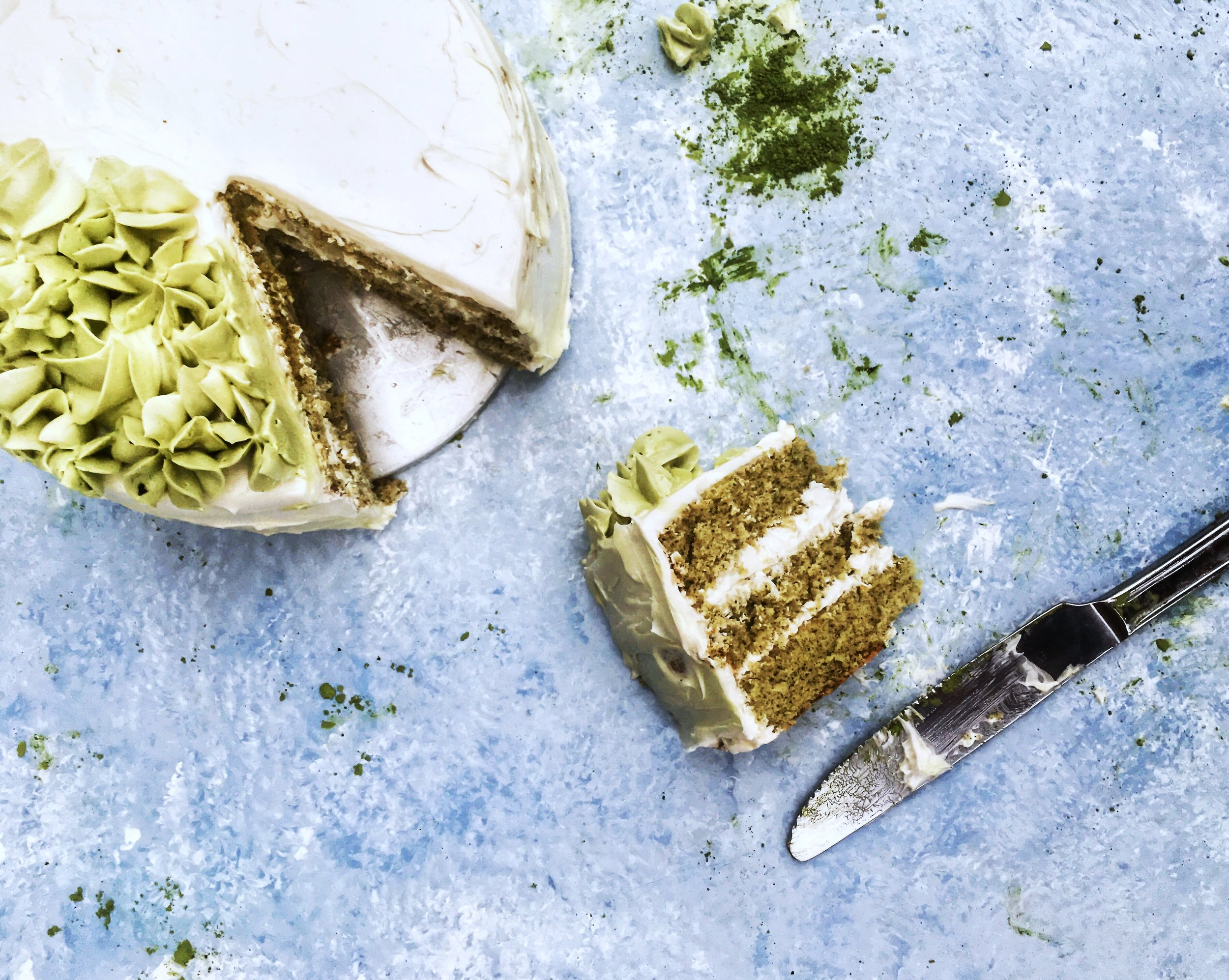 Matcha Layer Cake with Condensed Milk Buttercream