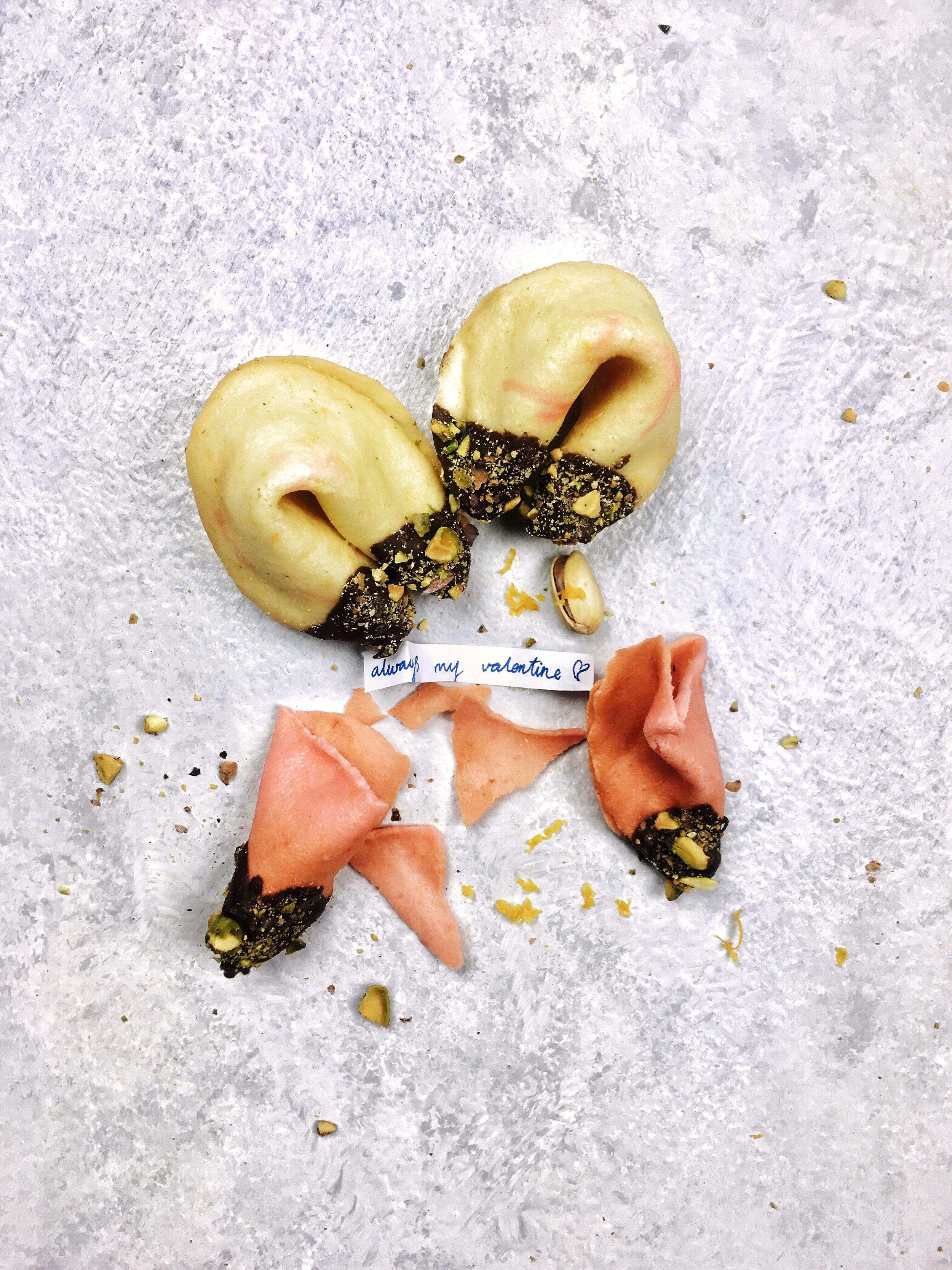 Orange & Pistachio Fortune Cookies