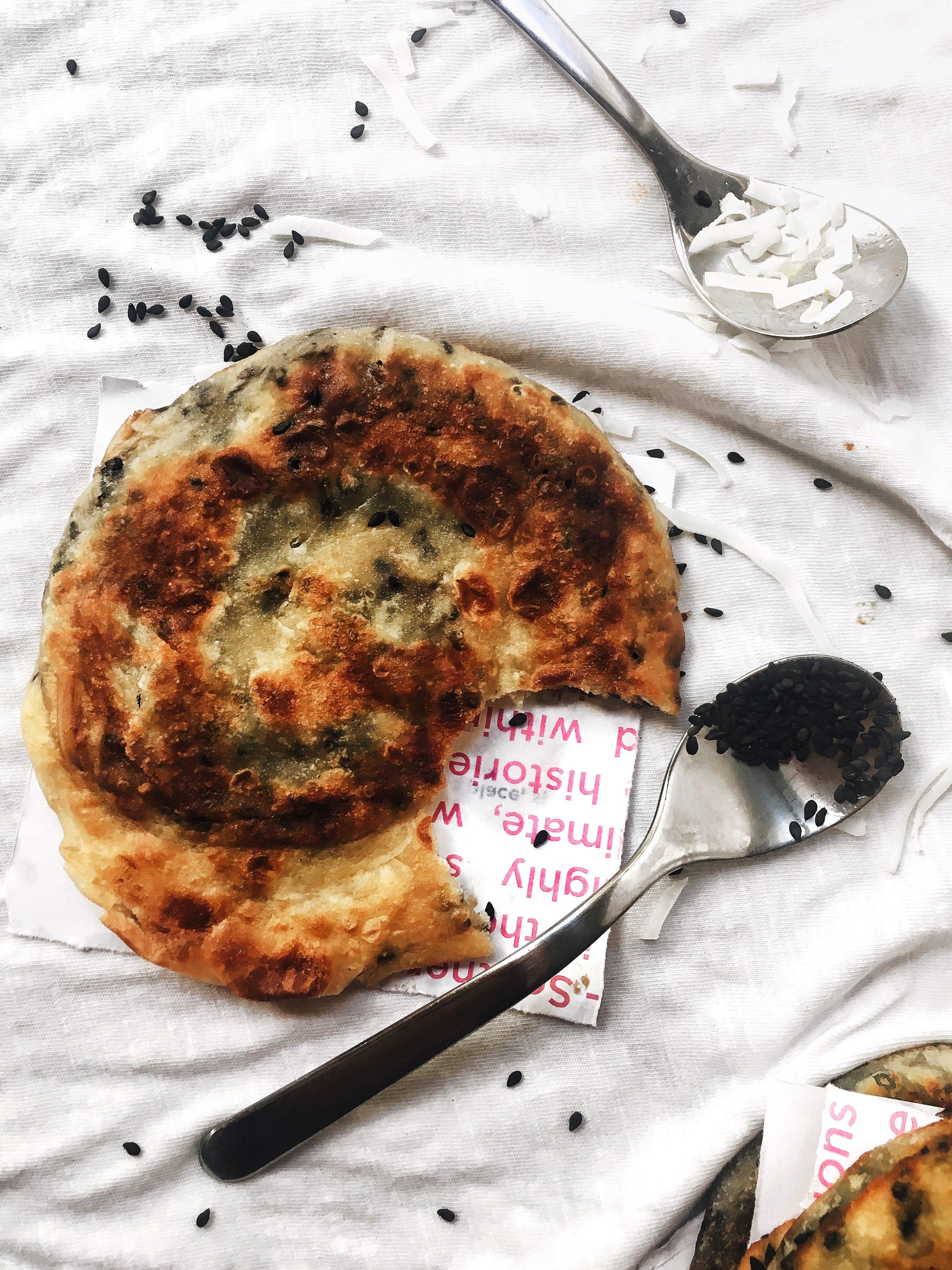 Flaky Black Sesame Coconut Pancakes - Brad & Butter | Jun 25, 2019