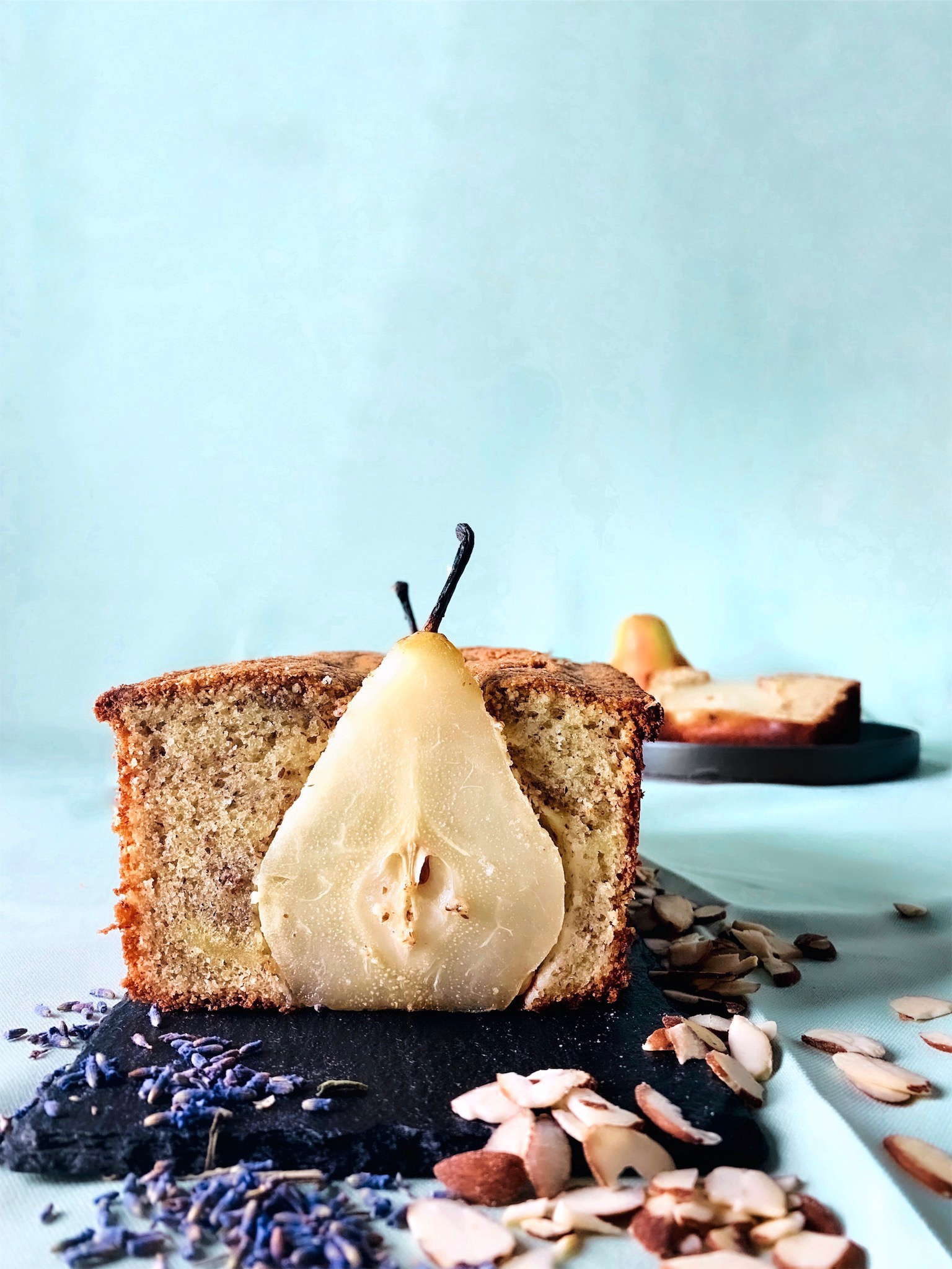 Almond Loaf with Lavender Poached Pears - Brad & Butter | Oct 1, 2019