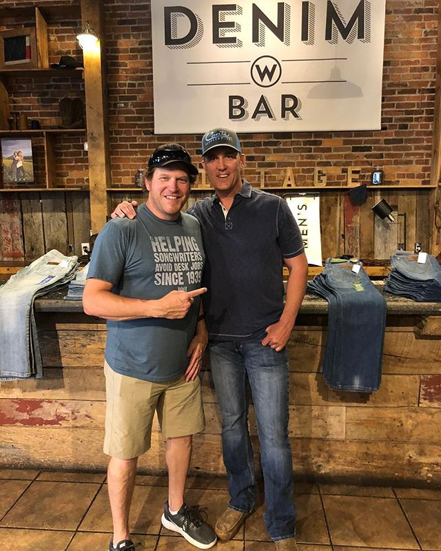 @bricelongsongs and I trying to not make trouble at the @wrangler #denim bar! I'll take a shot of @jackdaniels_us and a pair of #bootcutjeans please! #countrymusic #wrangler #cowboysnation @cowboylifestylenetwork #rodeo